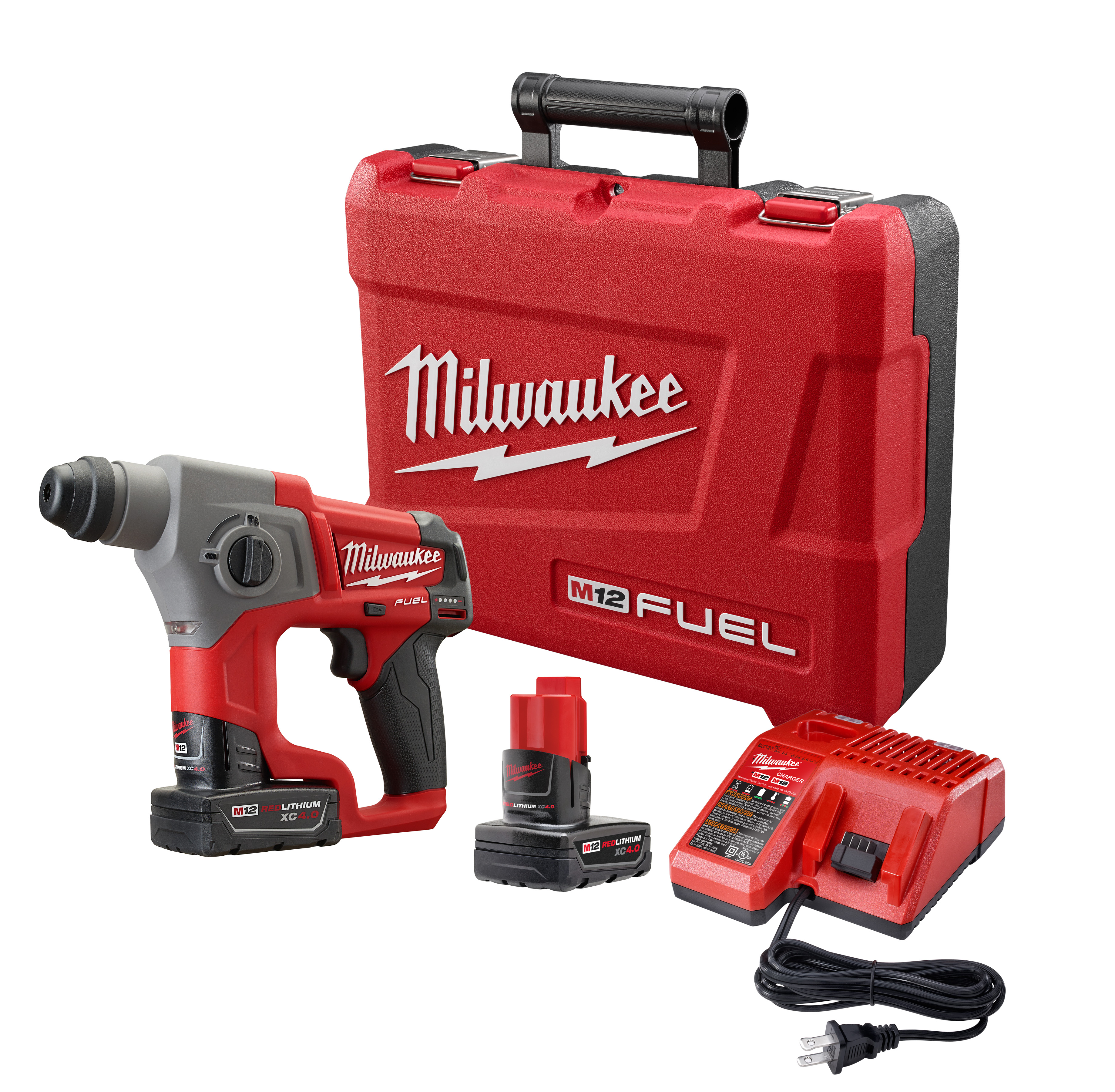 Milwaukee® M12™ FUEL™ 2416-22XC Cordless Rotary Hammer Kit, 5/8 in Keyless/SDS Plus® Chuck, 12 VDC, 900 rpm No-Load, Lithium-Ion Battery