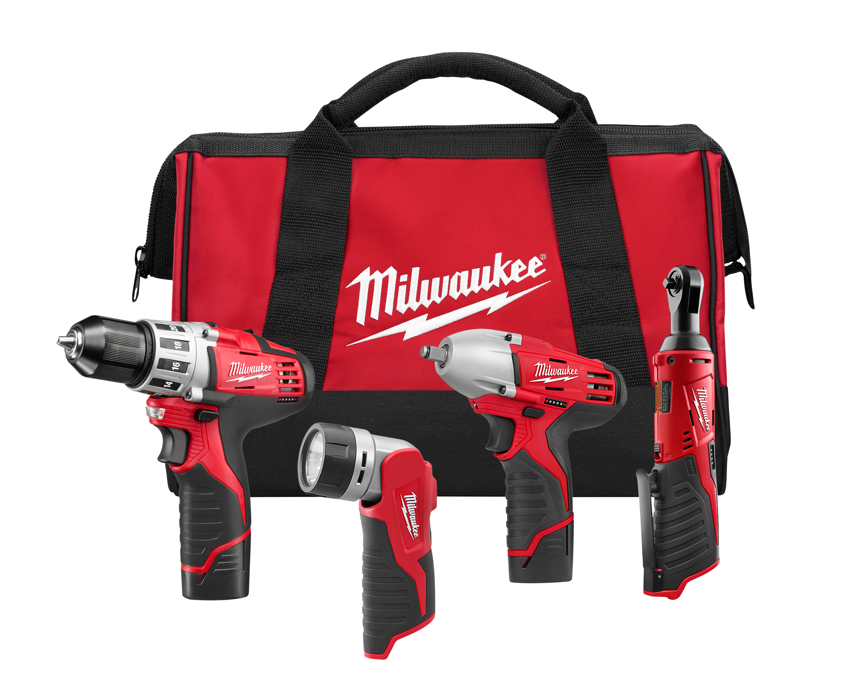 Milwaukee® M12™ 2493-24 4-Tool Cordless Combination Kit, Tools: Drill Driver, Impact Wrench, Ratchet, 12 VDC, 1.5 Ah Lithium-Ion, Keyless Blade