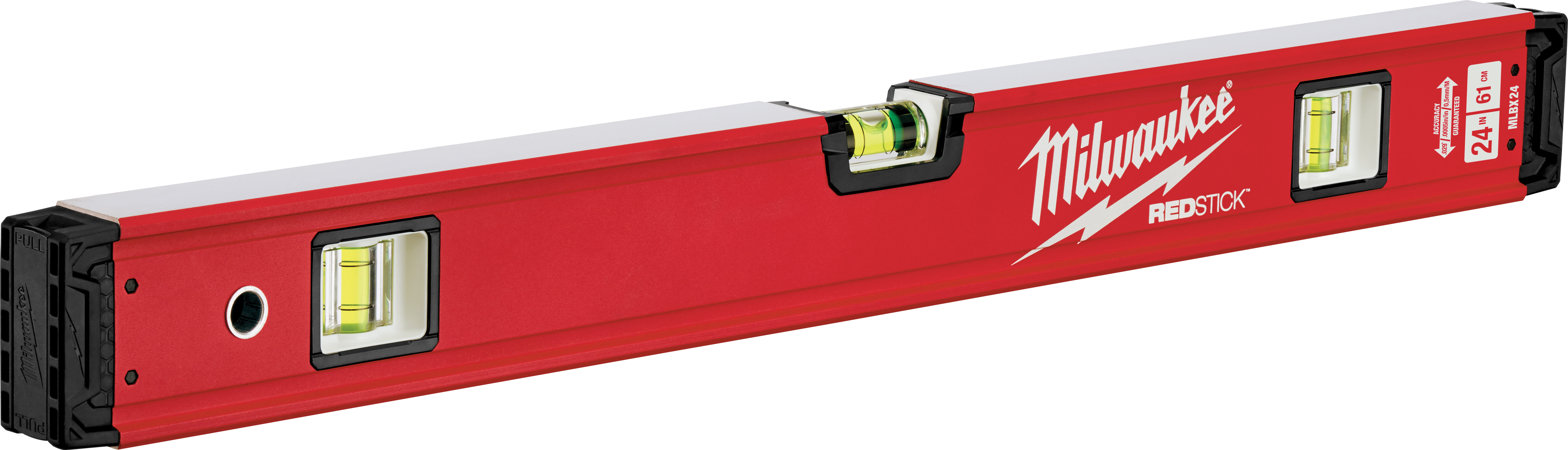 Milwaukee® REDSTICK™ MLBX24 Box Level, 24 in L, 3 Vials, Aluminum, (1) Level, (2) Plumb Vial Position, 0.0005 in/in Accuracy