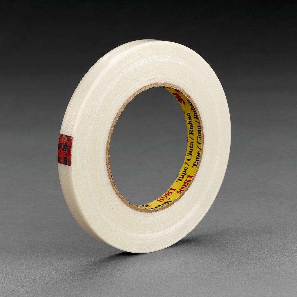 3M™ 8981-36mmx55m Reinforced Filament Tape, 55 m L x 36 mm W, 6.6 mil THK, Fiberglass Yarn Filament, Synthetic Rubber Adhesive, Polypropylene Backing, Clear