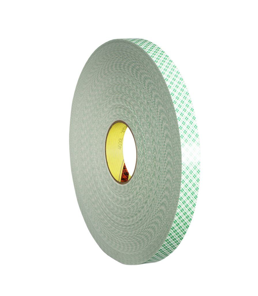 "3M™ 4032-1/2""x72yd Double Coated Tape, 72 yd L x 1/2 in W, 31 mil THK, Acrylic Adhesive, Urethane Foam Backing, Off-White"
