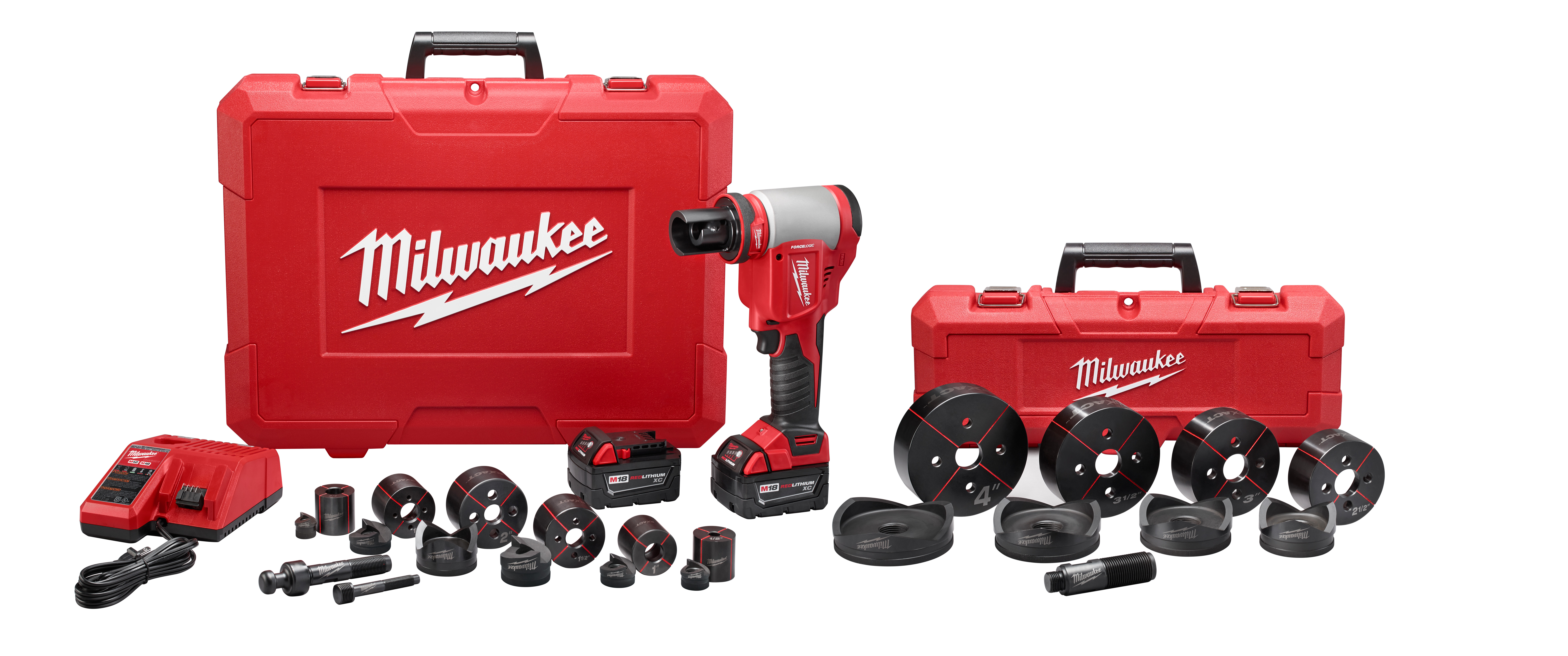 Milwaukee® M18™ 2676-23 FORCE LOGIC™ High Capacity Knockout Tool Kit, 1/2 to 4 in Mild Steel/Stainless Steel Max Cutting, 13.63 in OAL