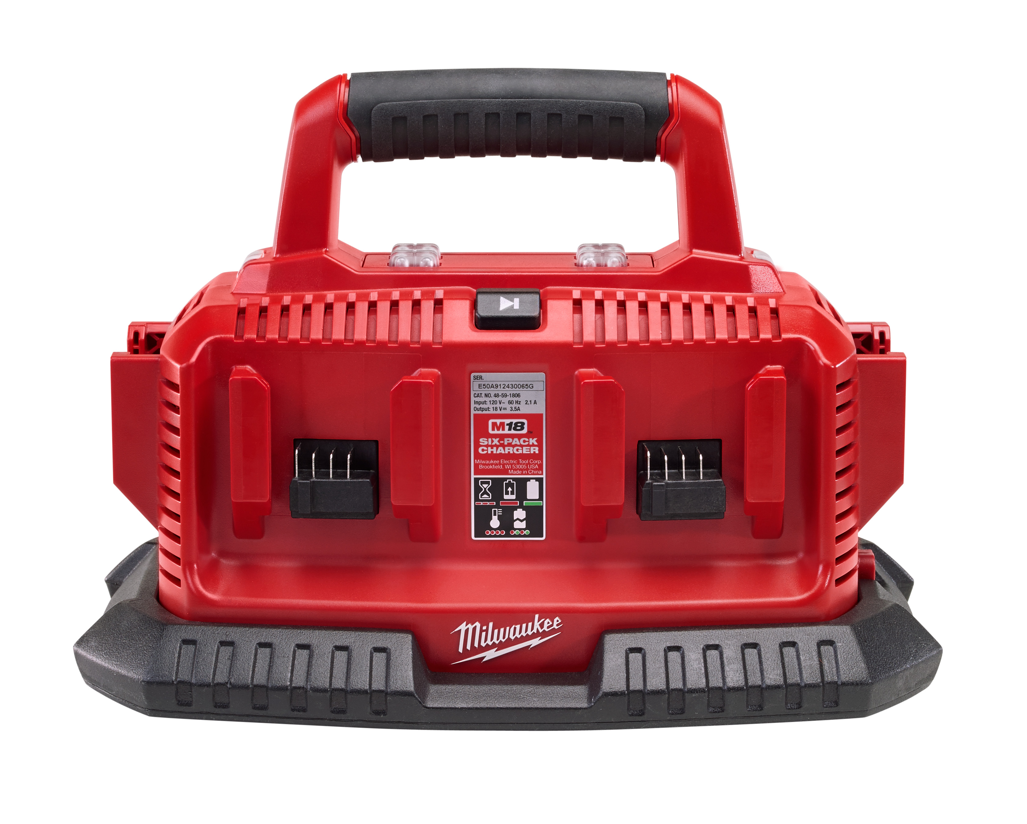 Milwaukee® M18™ 48-59-1806 Sequential Charger, For Use With Milwaukee® M18™ Battery, Lithium-Ion Battery, 0.5 to 1 hr Charging, 6 Batteries