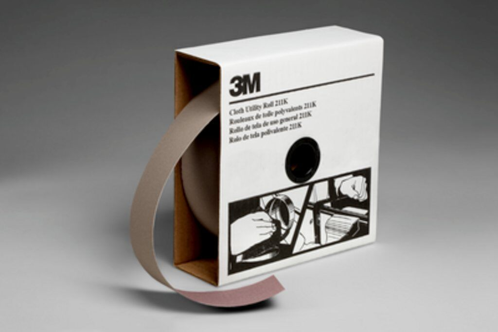 3M™ 05042 211K Lightweight Utility Closed Coated Abrasive Roll, 50 yd L x 2 in W, 320 Grit, Extra Fine Grade, Aluminum Oxide Abrasive, Cloth Backing