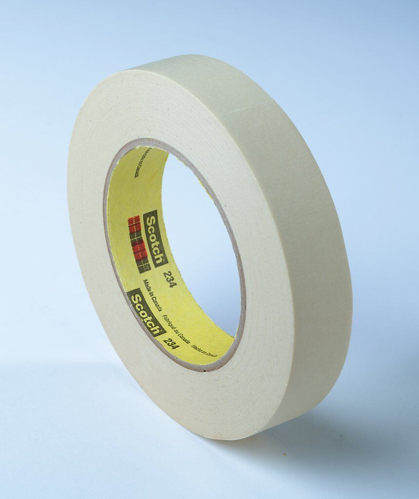 3M™ 234-60mmx55m General Purpose Masking Tape, 55 m L x 60 mm W, 5.9 mil THK, Rubber Adhesive, Crepe Paper Backing