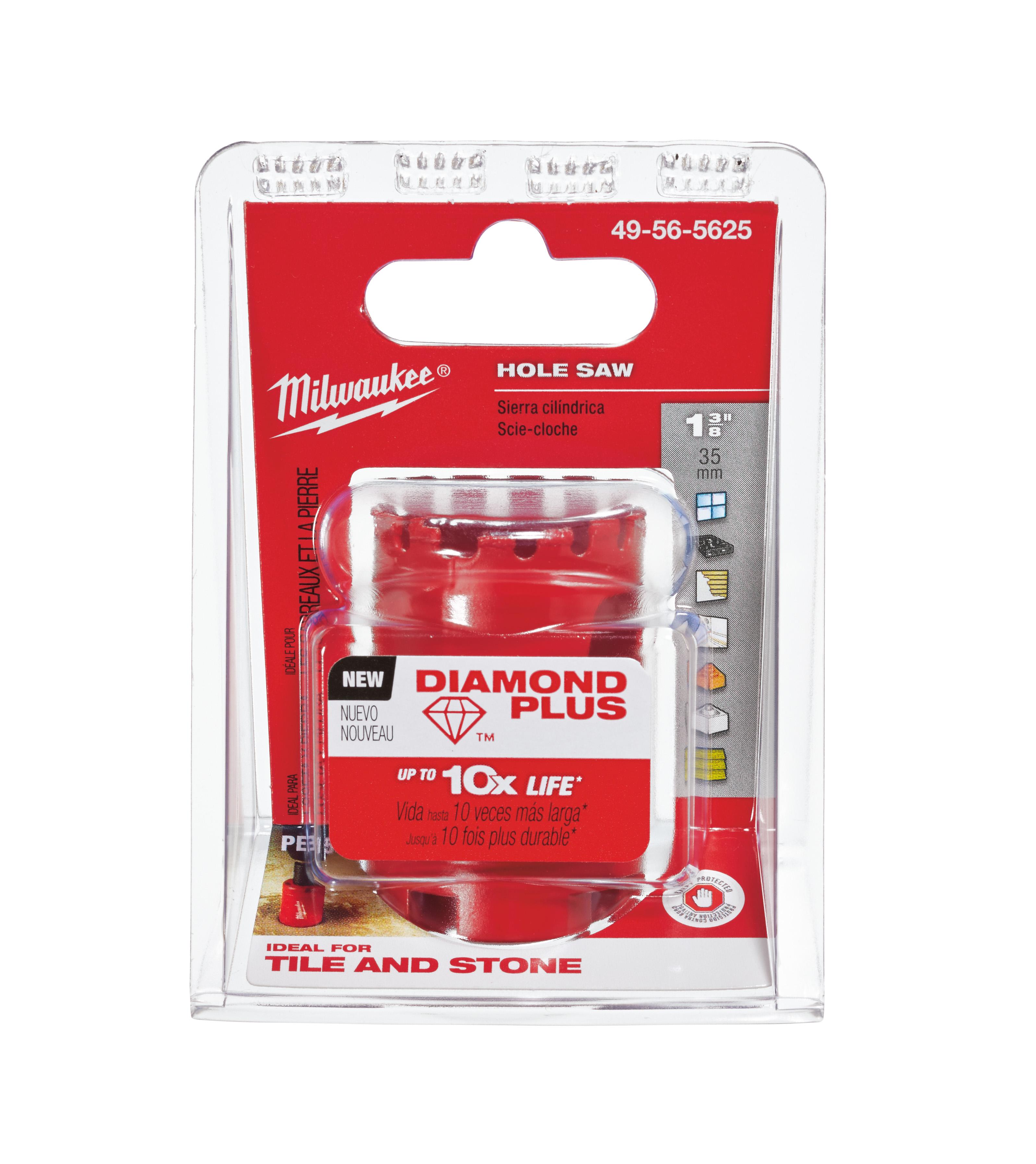 Milwaukee® Diamond Plus™ 49-56-5625 Hole Saw, 1-3/8 in Dia, 1-1/2 in D Cutting, Diamond Grit Cutting Edge