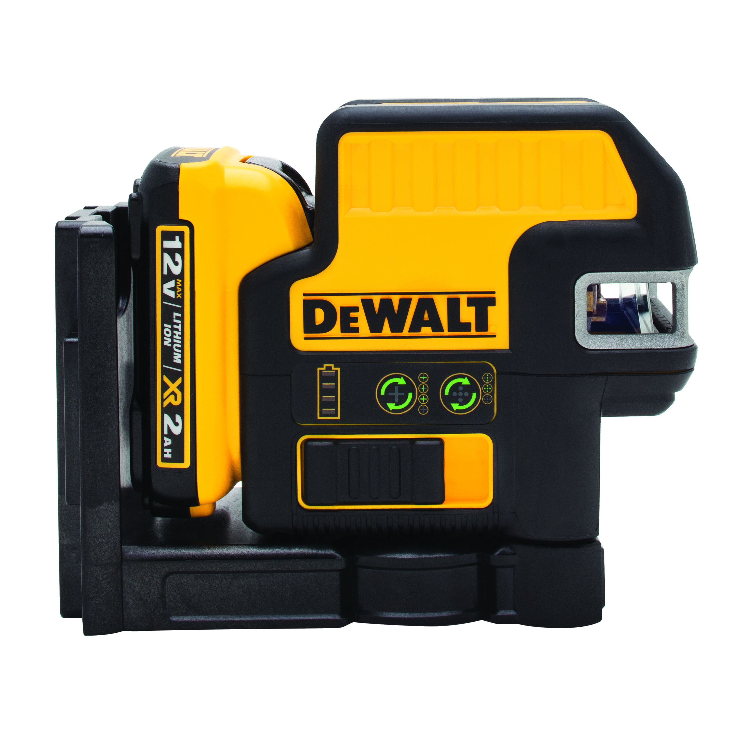 **Sale! Add to cart, save 15% more  - DeWALT® 12V MAX* DW0825LG Automatic Self-Leveling Horizontal/Vertical Projection Cross Line Laser, 165 ft Measuring, +/-1/8 in at 30 ft Accuracy, +/-5 deg Auto Leveling, 5 Beams, 12 V Lithium-Ion Battery