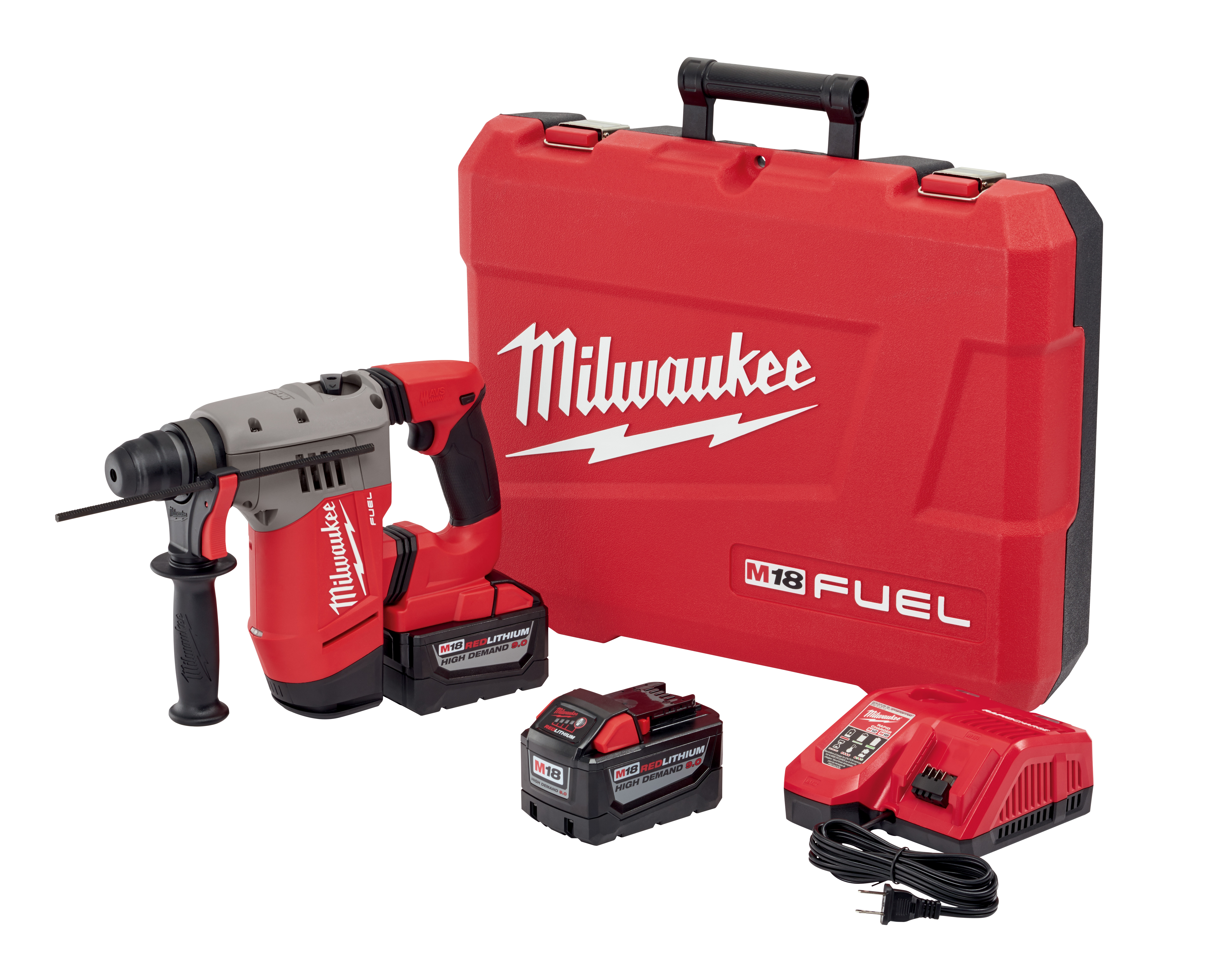 Milwaukee® M18 FUEL™ 2715-22HD Cordless Rotary Hammer Kit, 1-1/8 in SDS Plus® Chuck, 18 VDC, 0 to 1350 rpm No-Load, M18™ REDLITHIUM™ Lithium-Ion Battery