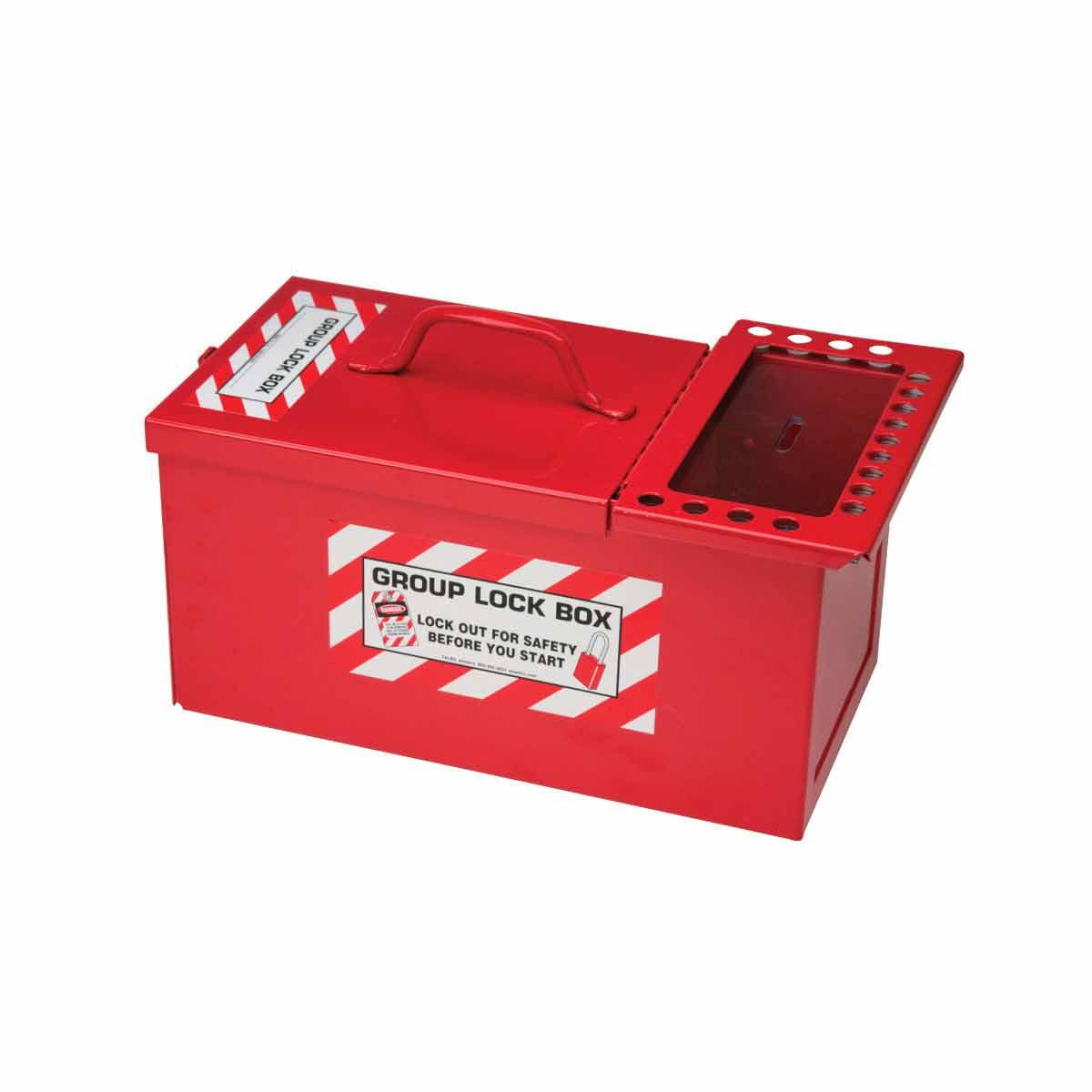 Brady® 105716 Empty Heavy Duty Portable Group Lockout Box, 17 Padlocks, Black/White on Red, 6 in H x 7-1/2 in W x 12-1/2 in D