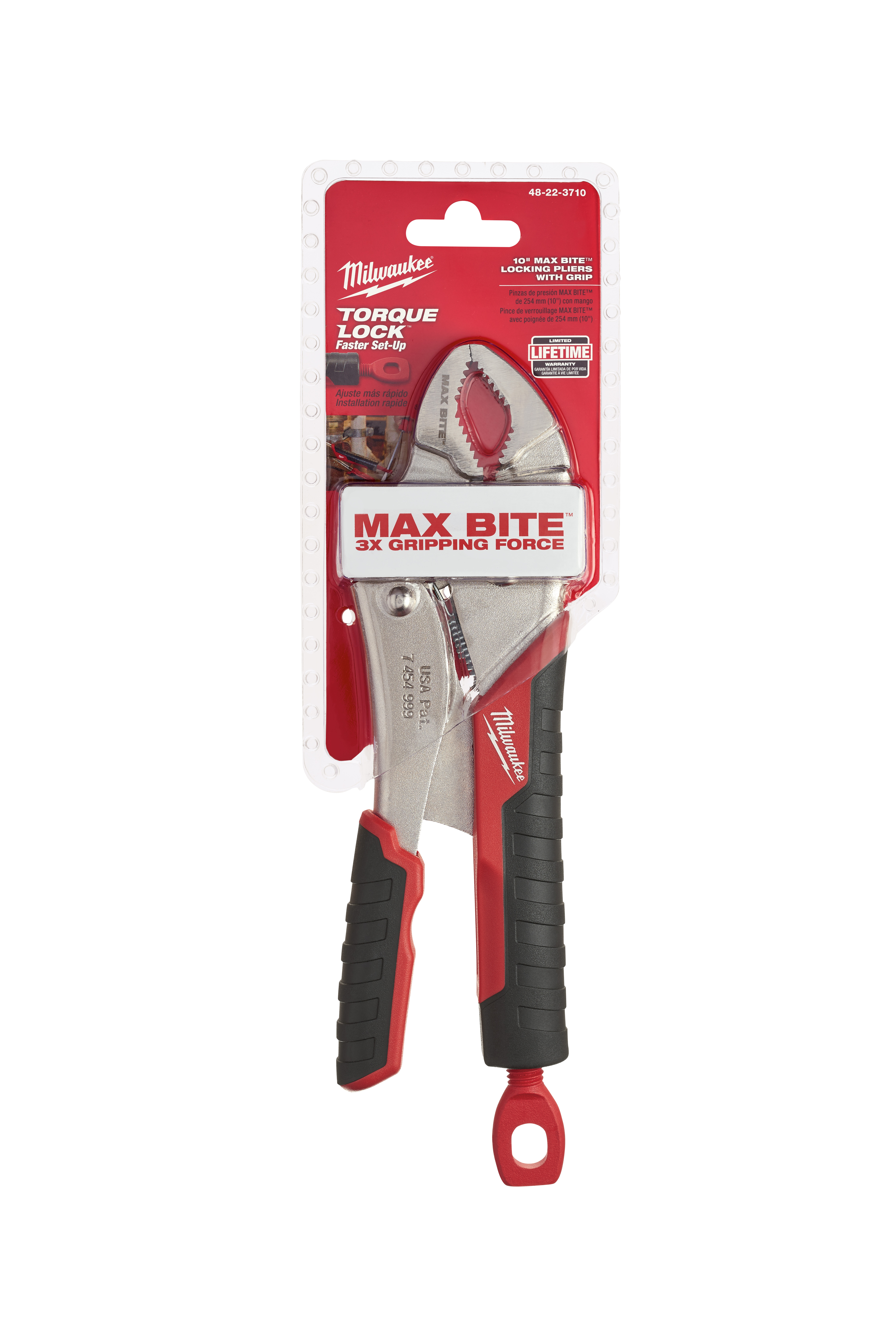Milwaukee® TORQUE LOCK™ MAXBITE™ 48-22-3710 Locking Plier, 1-7/8 in Nominal, 1-13/64 in L x 19/32 in W Forged Alloy Steel Gripped Curved Jaw, 10 in OAL