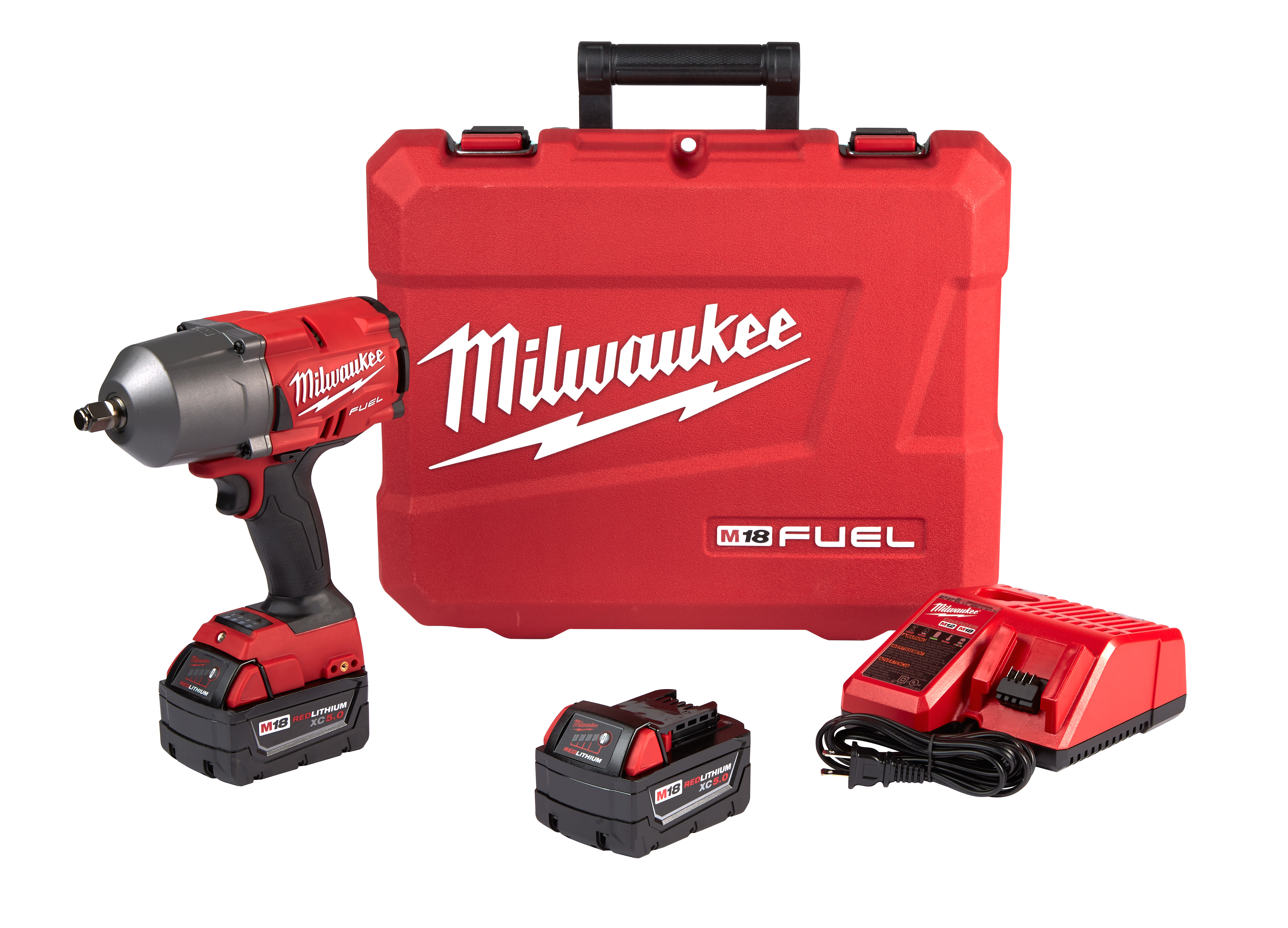 Milwaukee® M18™ FUEL™ 2767-22 Cordless High Torque Impact Wrench With Friction Ring Kit, 1/2 in, 1000 ft-lb Torque, 18 VDC, 8.39 in OAL