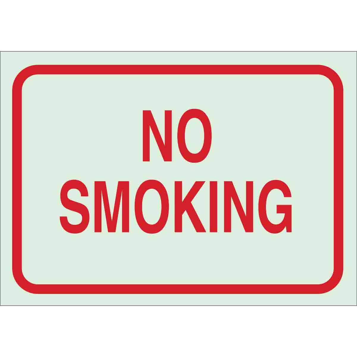 Brady® BradyGlo™ 80248 Rectangular No Smoking Sign, 7 in H x 10 in W, Red on Glow, B-324 Polyester, Self-Adhesive Mount