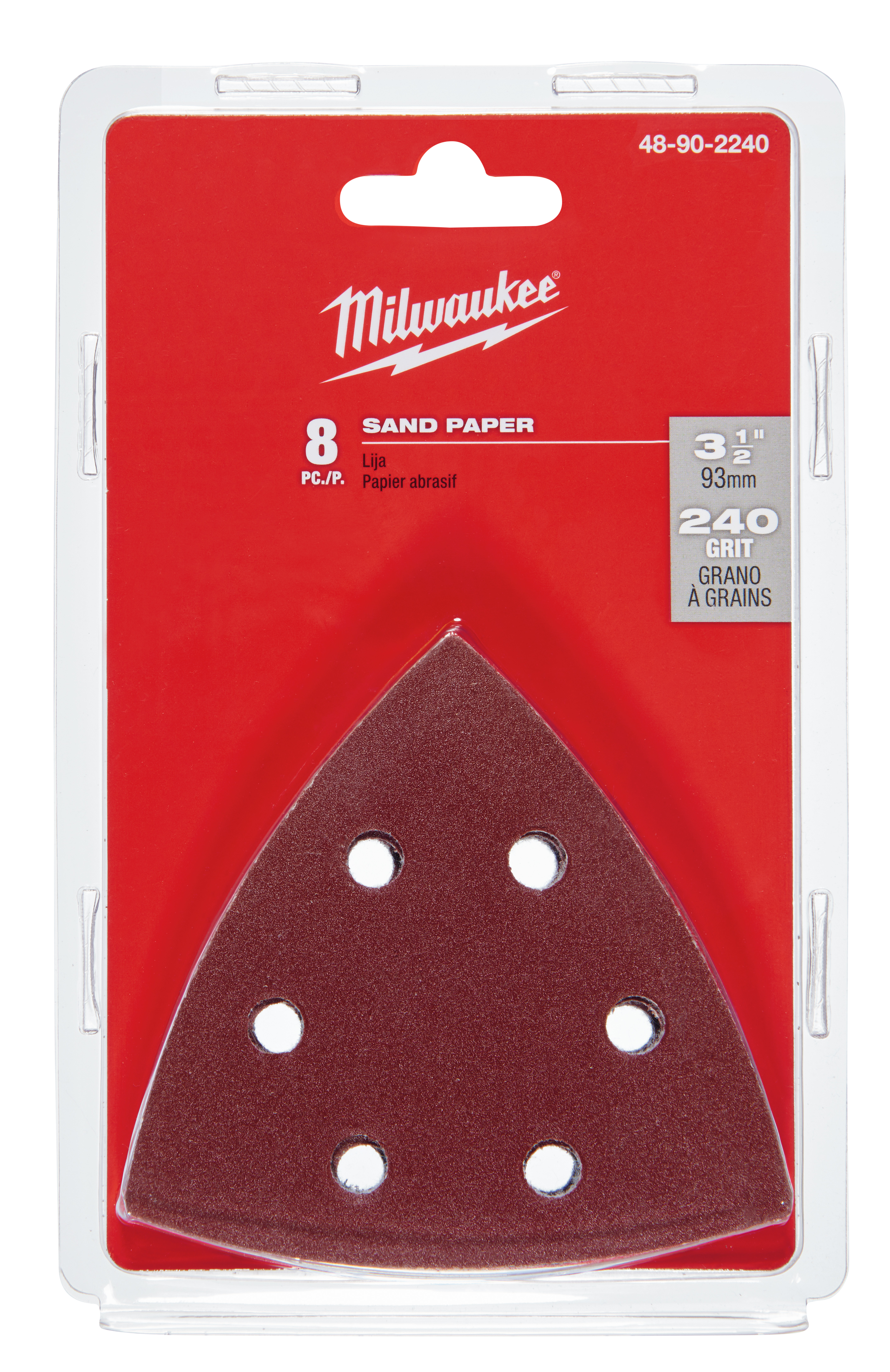 Milwaukee® 48-90-2240 Multi-Tool Sand Paper, For Use With M18™ 48-90-2000 Sanding Pad, 3-1/2 in L x 3-1/2 in W, 240 Grit, Sandpaper