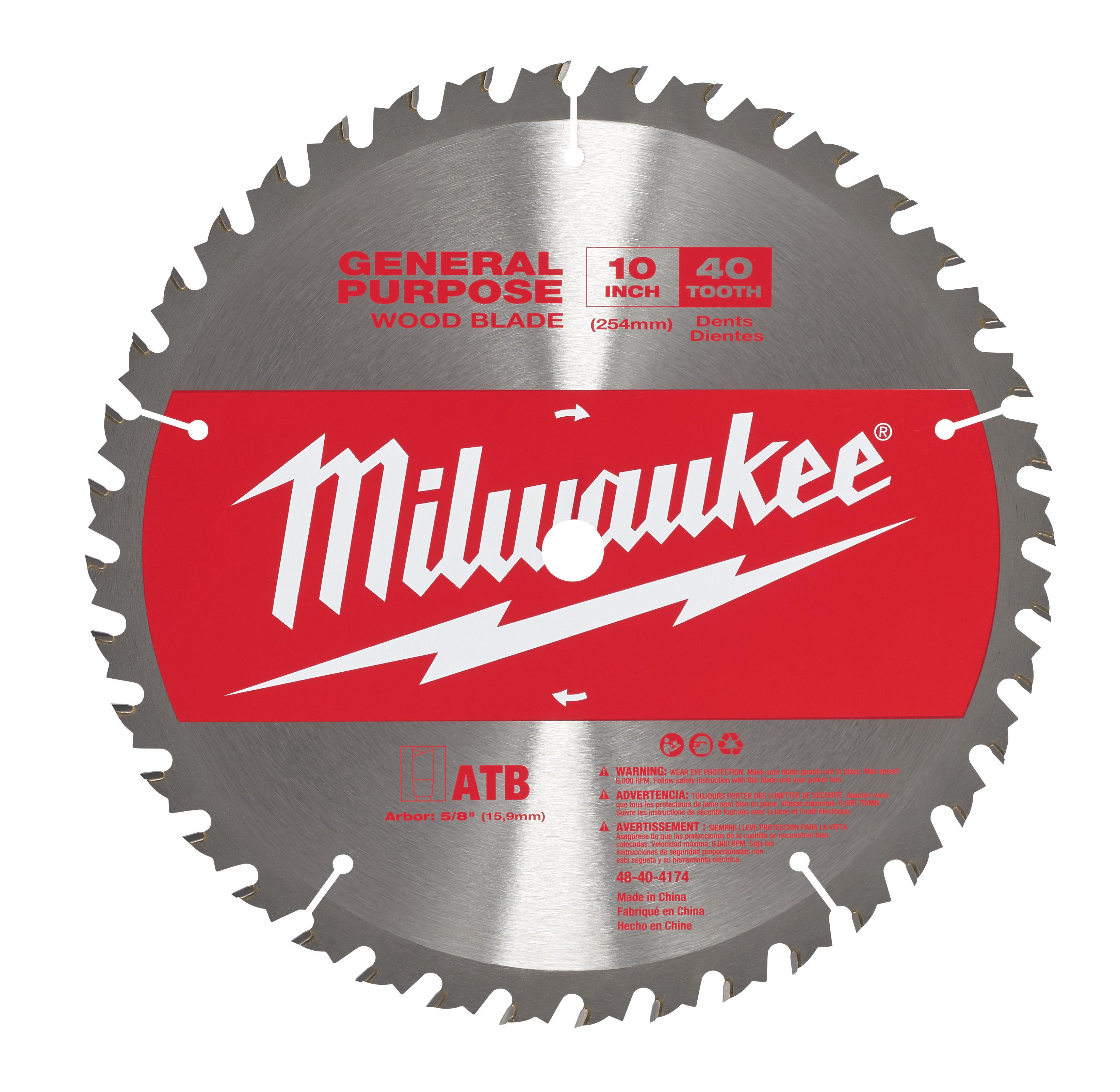 Milwaukee® 48-40-4174 General Purpose Circular Saw Blade, 10 in Dia, 5/8 in Arbor, Carbide Blade, 40 Teeth