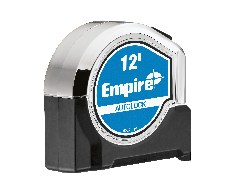 Milwaukee® UE BLUE® 500AL-12 Autolock Measuring Tape, 12 ft L x 1-1/4 in W Blade, Steel Blade, Imperial Measuring System, 1/16 in Graduation