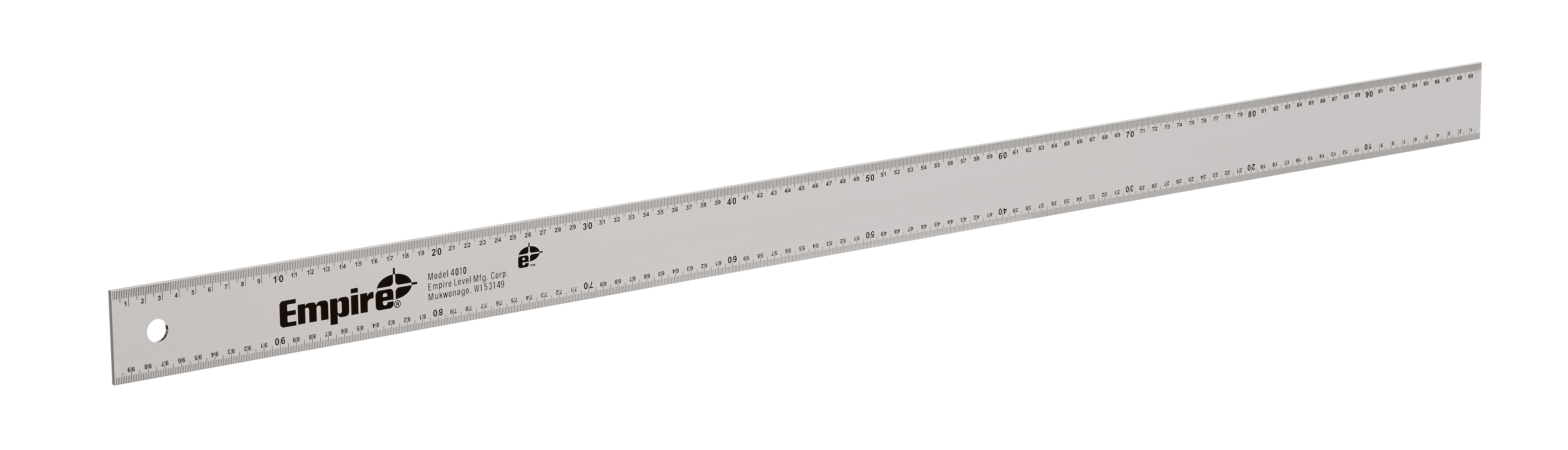 Milwaukee® Empire® 4010 Heavy Duty Straight Edge Ruler, Metric Measuring System, Graduations 1 mm, Aluminum, Silver