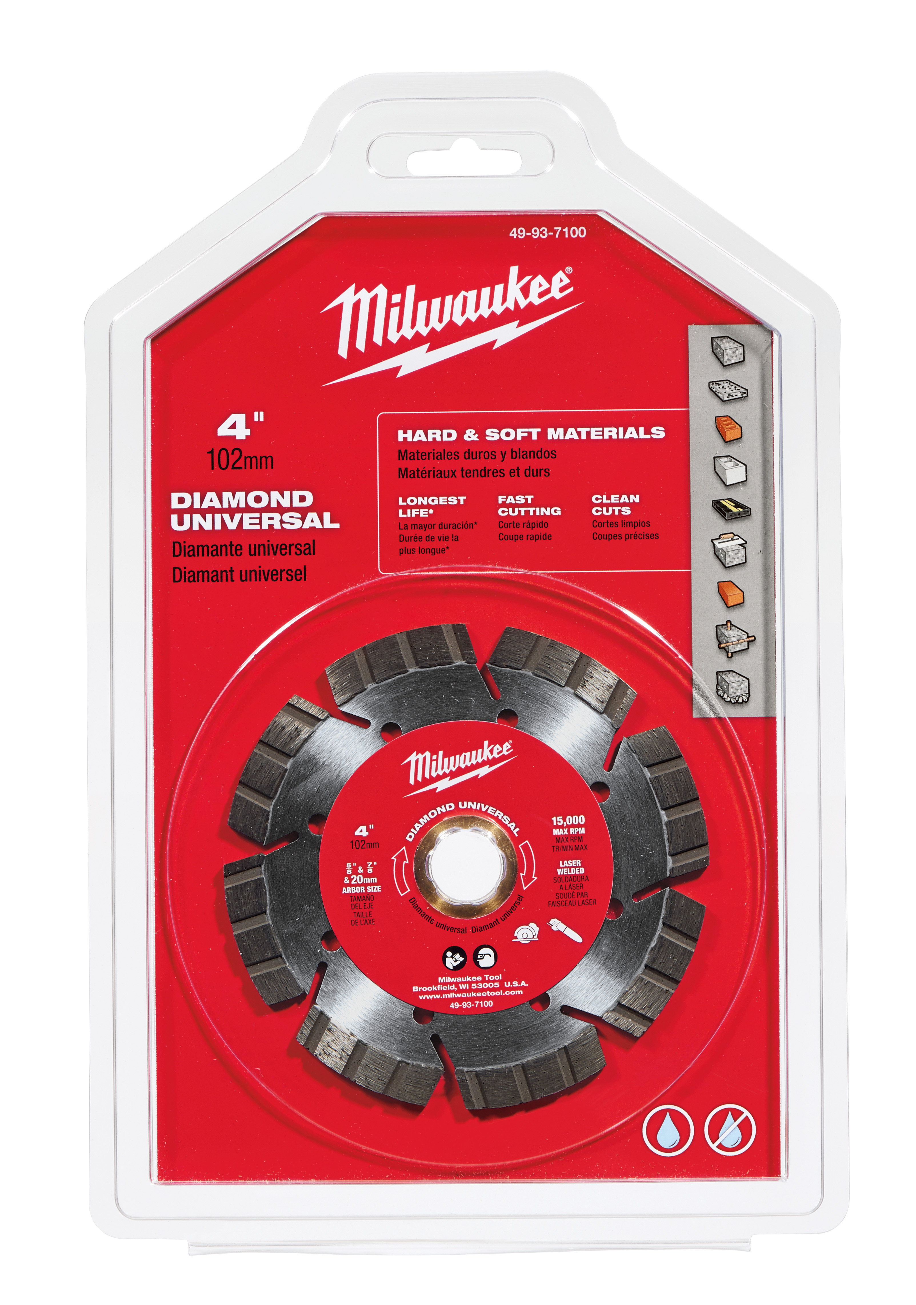 Milwaukee® 49-93-7100 Universal Segmented Turbo Circular Diamond Saw Blade, 4 in Dia Blade, 7/8 in, 20 mm, 5/8 in Arbor/Shank, Dry/Wet Cutting