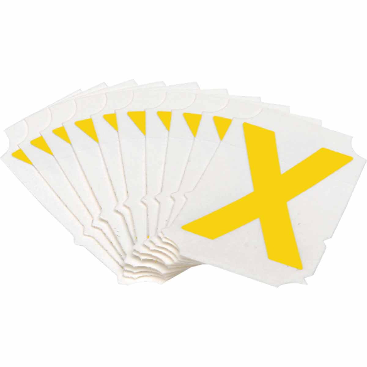 Brady® Quik-Align® 5060-X Non-Reflective Letter Label, 2 in H Yellow X Character, B-933 Vinyl