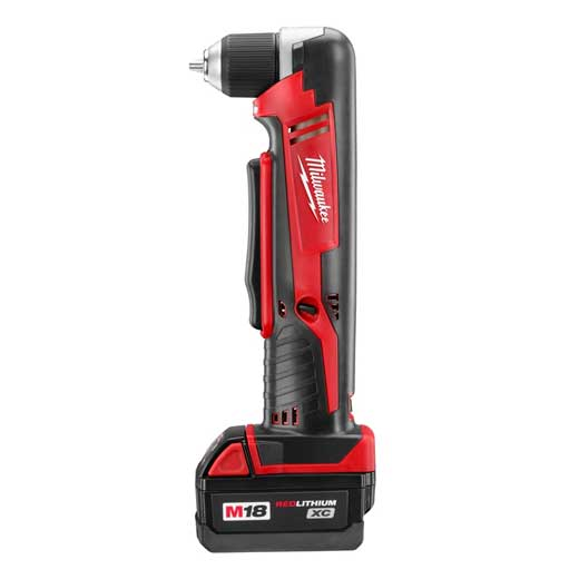 Milwaukee® 2615-21 M18™ REDLITHIUM™ Cordless Right Angle Drill, 3/8 in Keyless/Single Sleeve Chuck, 18 VDC, 125 in-lb Torque, 0 to 1500 rpm No-Load, 3-3/4 in OAL, Lithium-Ion Battery, Tool Only