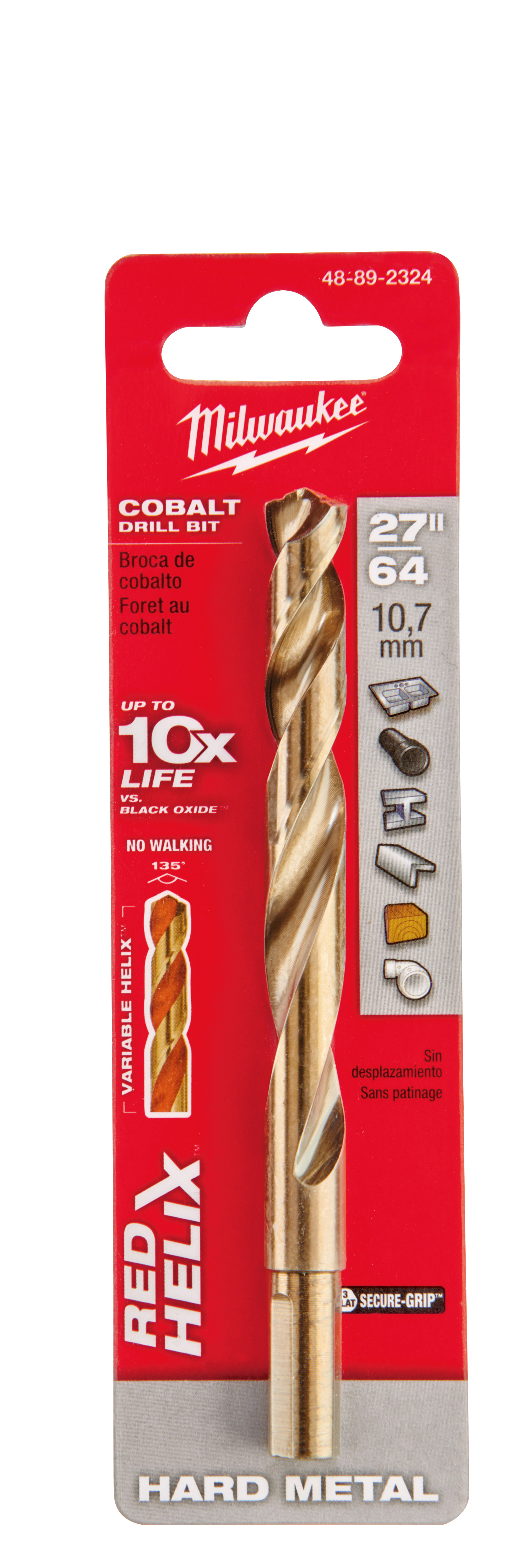 Milwaukee® 48-89-2324 RED HELIX™ Jobber Length Twist Drill Bit, 27/64 in Drill - Fraction, 0.4219 in Drill - Decimal Inch, 135 deg Point, High Speed Cobalt, Uncoated