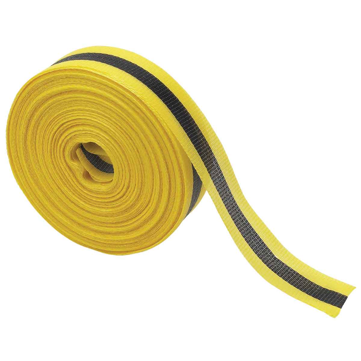 Brady® 91176 Woven Barricade Tape, Black on Yellow, 2 in W x 200 ft L, Horizontal Warning Stripes, Polypropylene