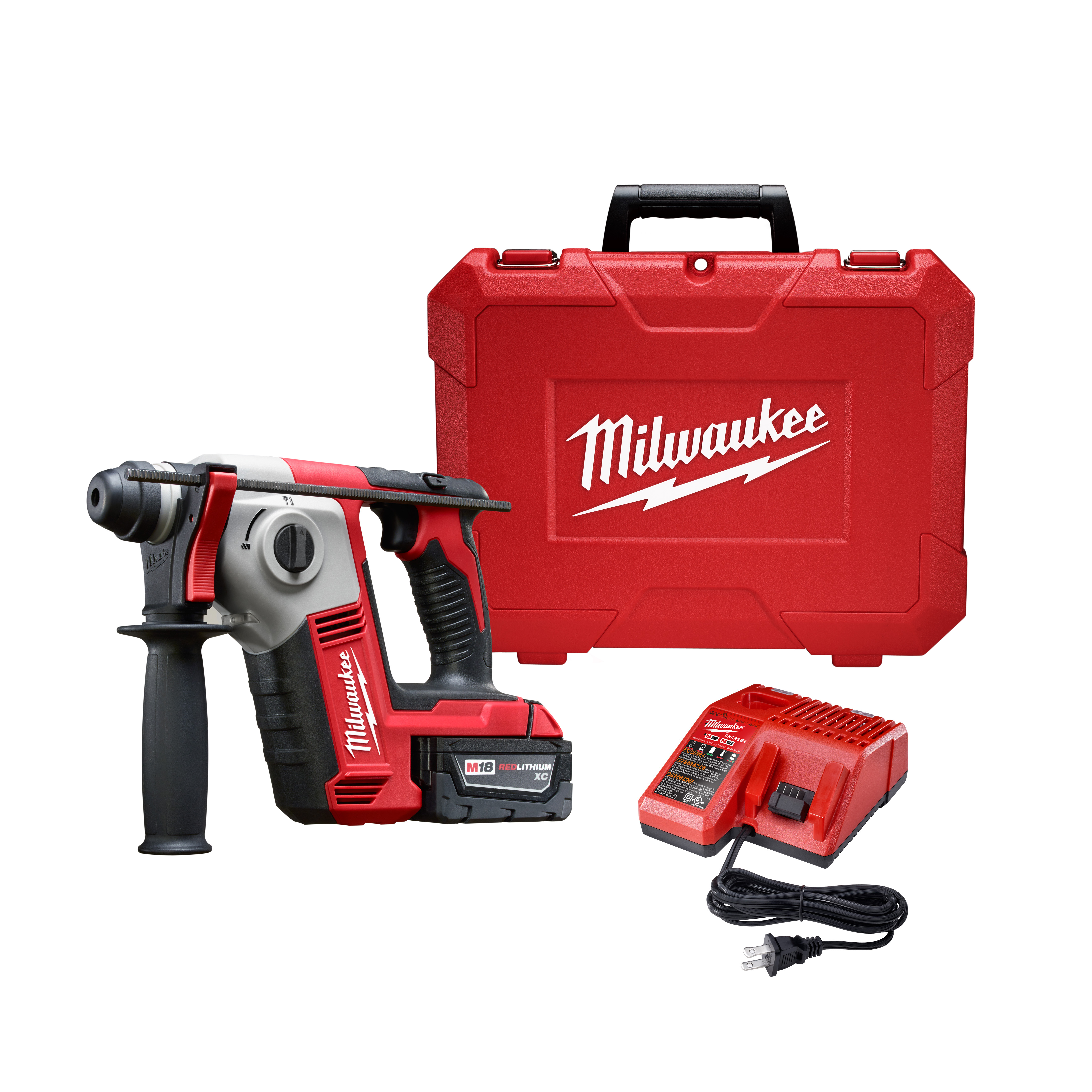 Milwaukee® M18™ 2612-21 Cordless Rotary Hammer Kit, 5/8 in Keyless/SDS Plus® Chuck, 18 VDC, 1300 rpm No-Load, Lithium-Ion Battery