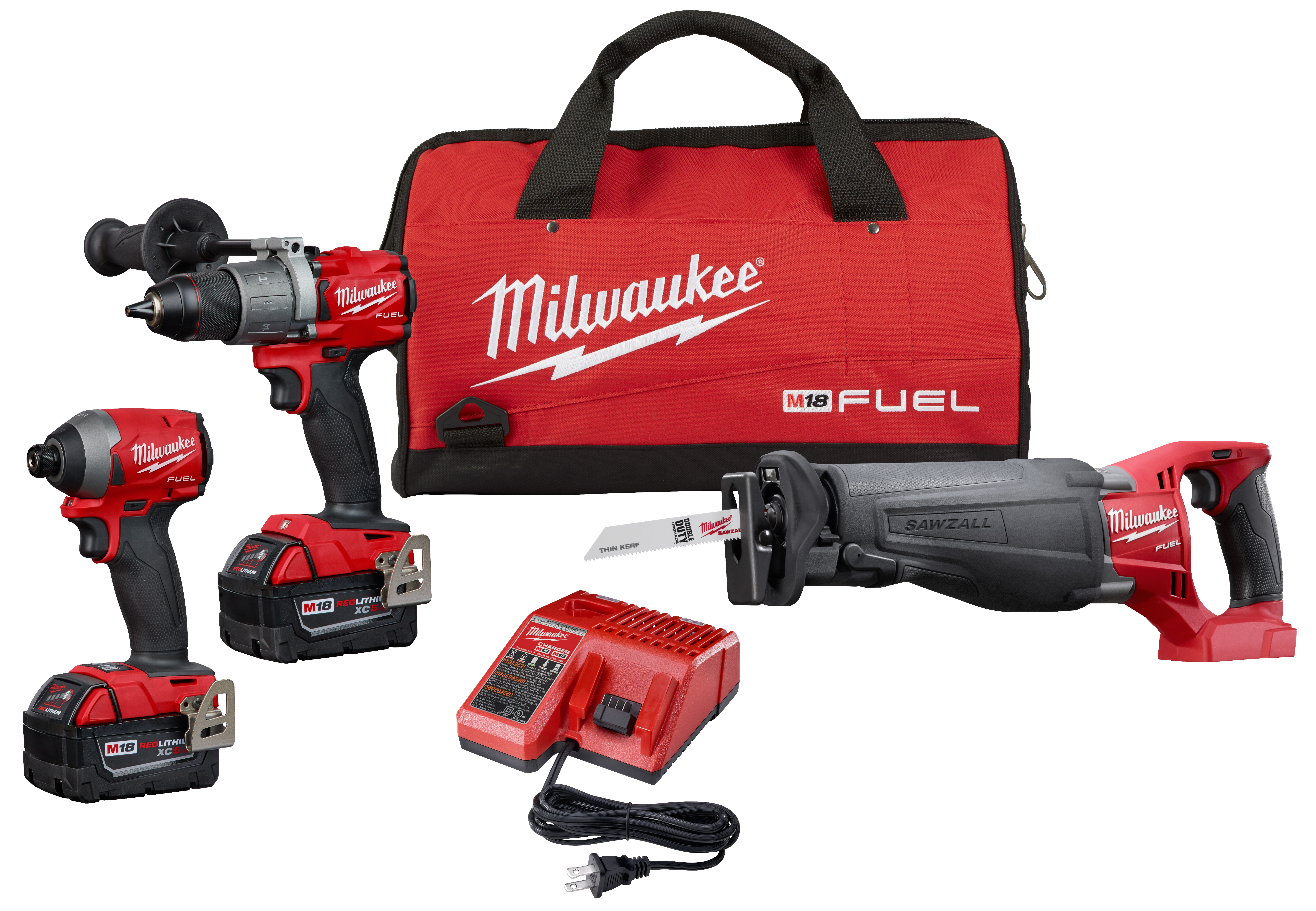 Milwaukee® M18™ 2997-23 3-Tool Cordless Combination Kit, Tools: Hammer Drill, Impact Driver, Reciprocating Saw, 18 VDC, 5 Ah Lithium-Ion REDLITHIUM™ Battery, D-Handle, Assorted Teeth
