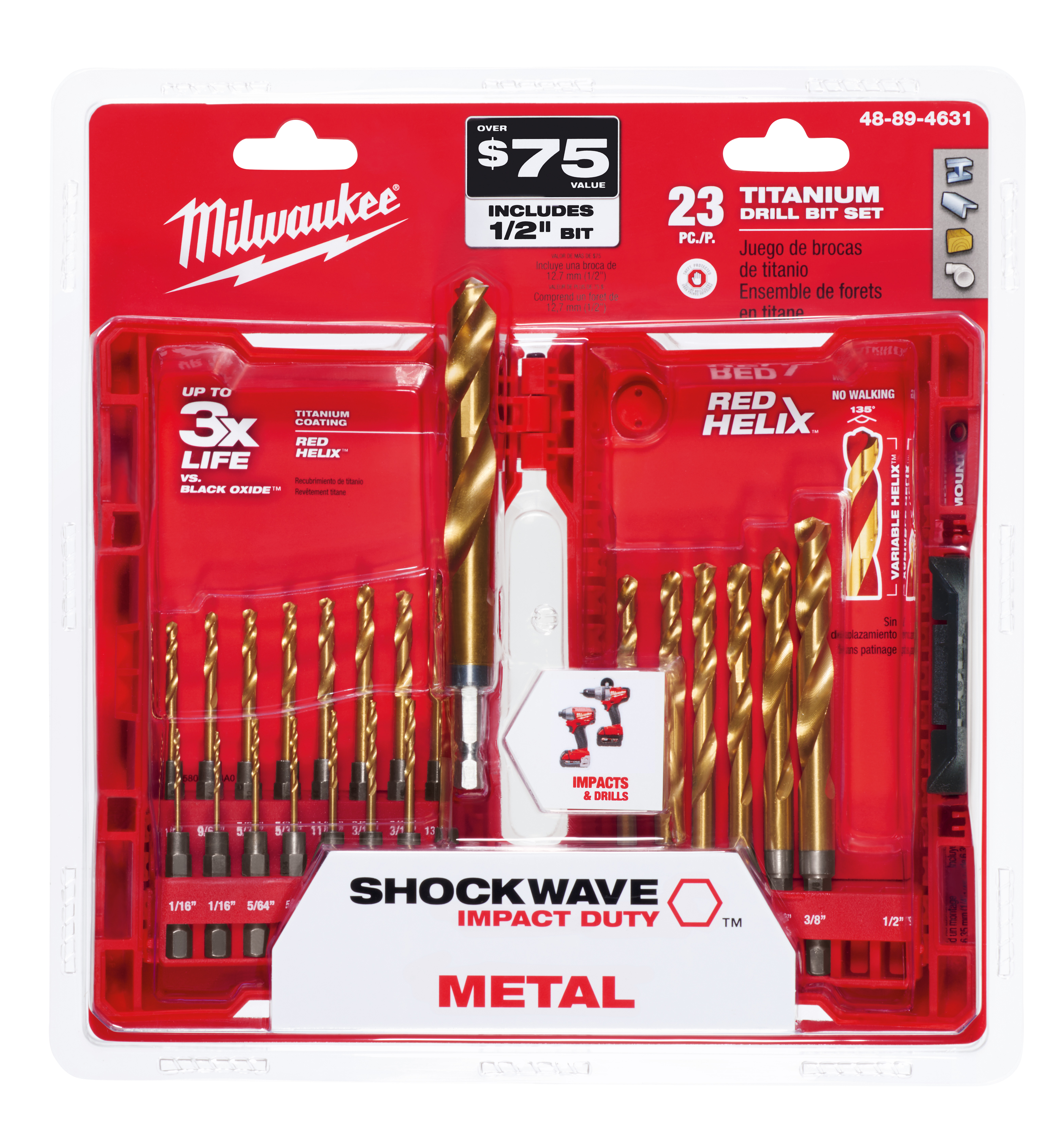 Milwaukee® 48-89-4631 SHOCKWAVE™ RED HELIX™ Impact Duty Drill Bit Kit, 23 Pieces, For Use With All Drill, HSS, Titanium Coated