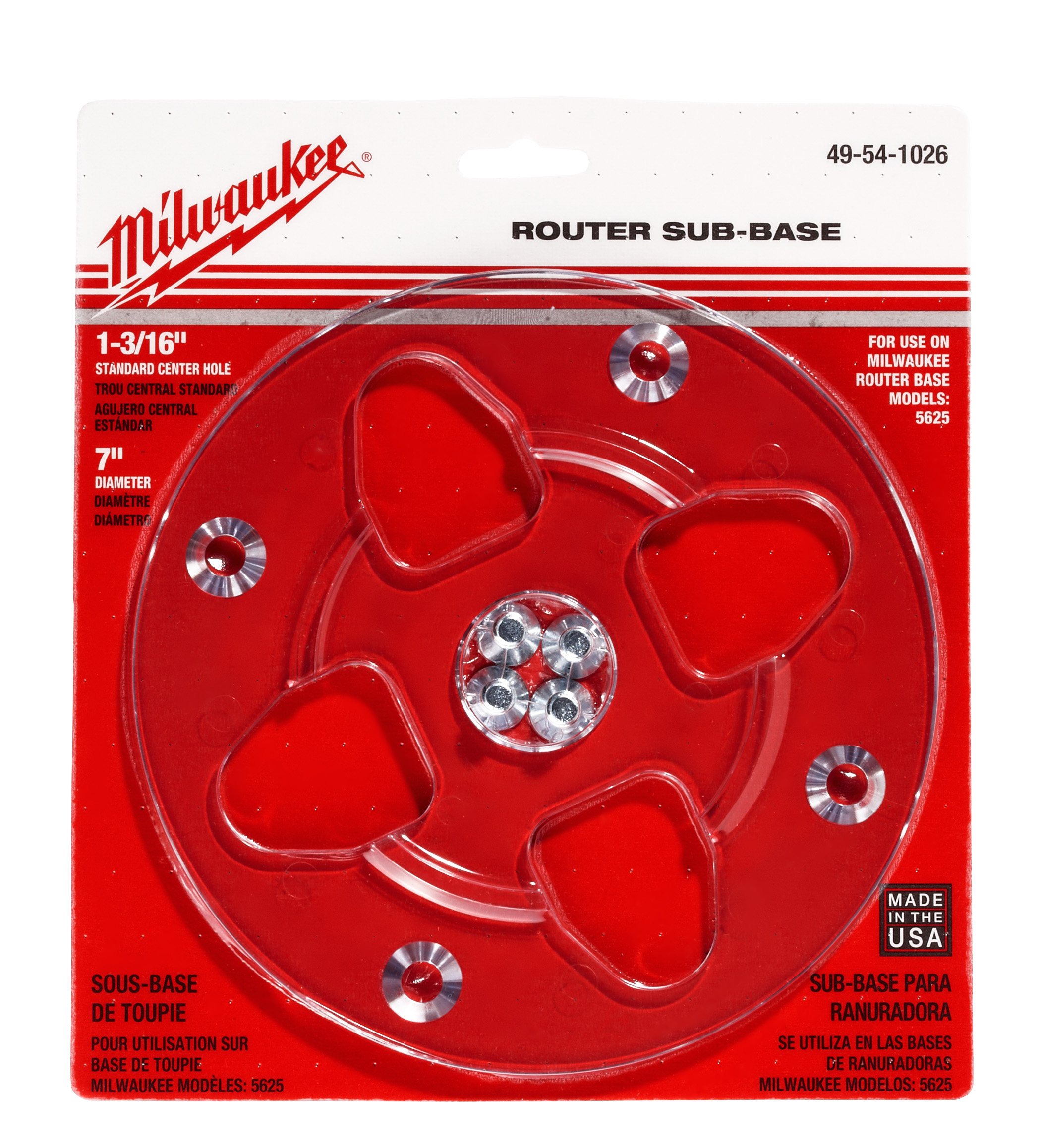 Milwaukee® 49-54-1026 Center Hole Router Sub-Base, For Use With 5625-20 Router, 1-3/16 in Center Hole, 6 in Dia