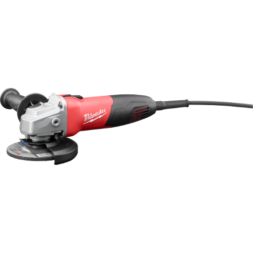 Milwaukee® 6130-33 Double Insulated Small Angle Angle Grinder, 4-1/2 in Dia Wheel, 5/8-11 UNC Arbor/Shank, 120 VAC, Black/Red