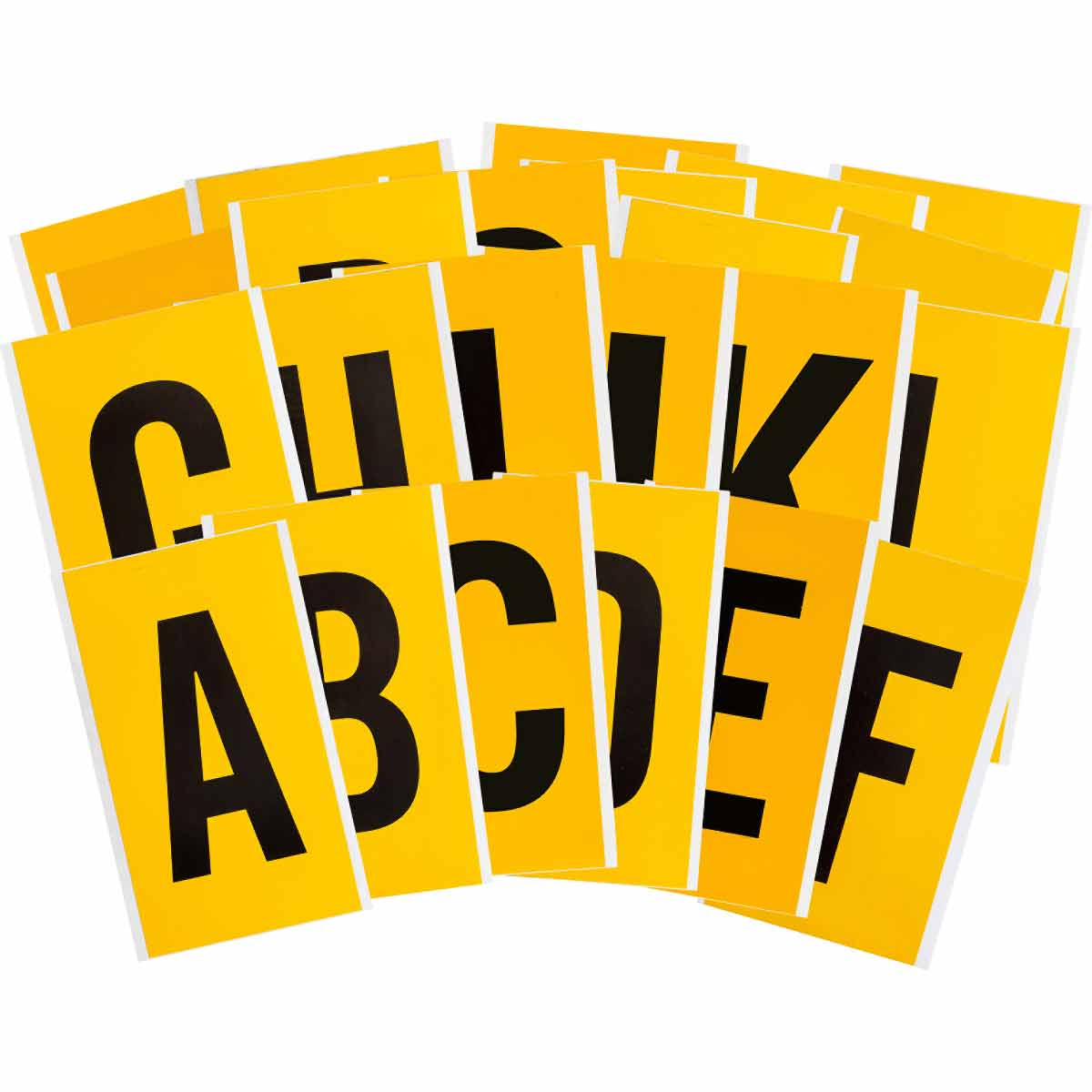 Brady® 97598 1570 Consecutive Non-Reflective Standard Letter Label Kit, Black A to Z Character, 6 in H, Yellow Background, B-946 Vinyl