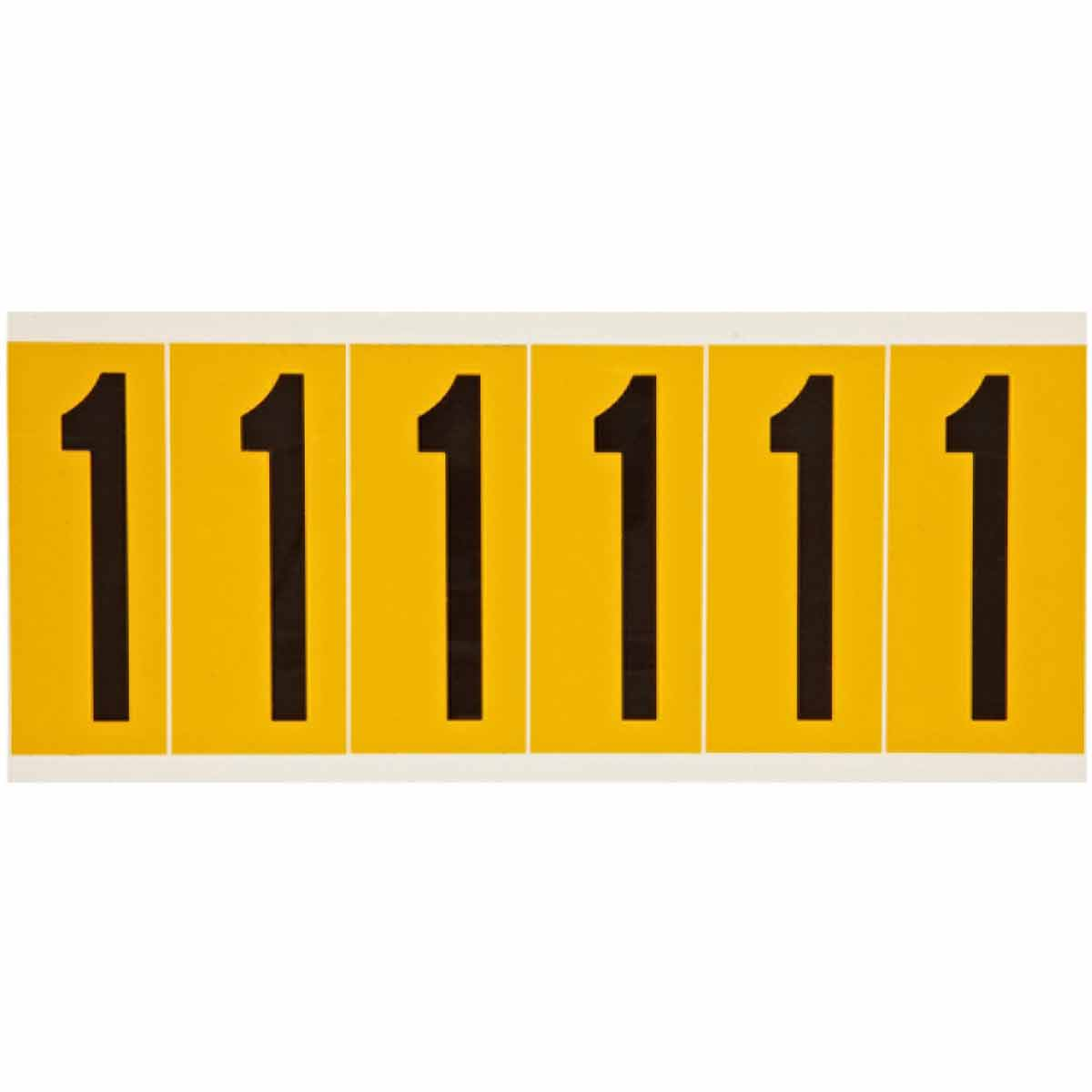 Brady® 1550-1 Non-Reflective Standard Number Label, Black 1 Character, 2.938 in H, Yellow Background, B-946 Vinyl