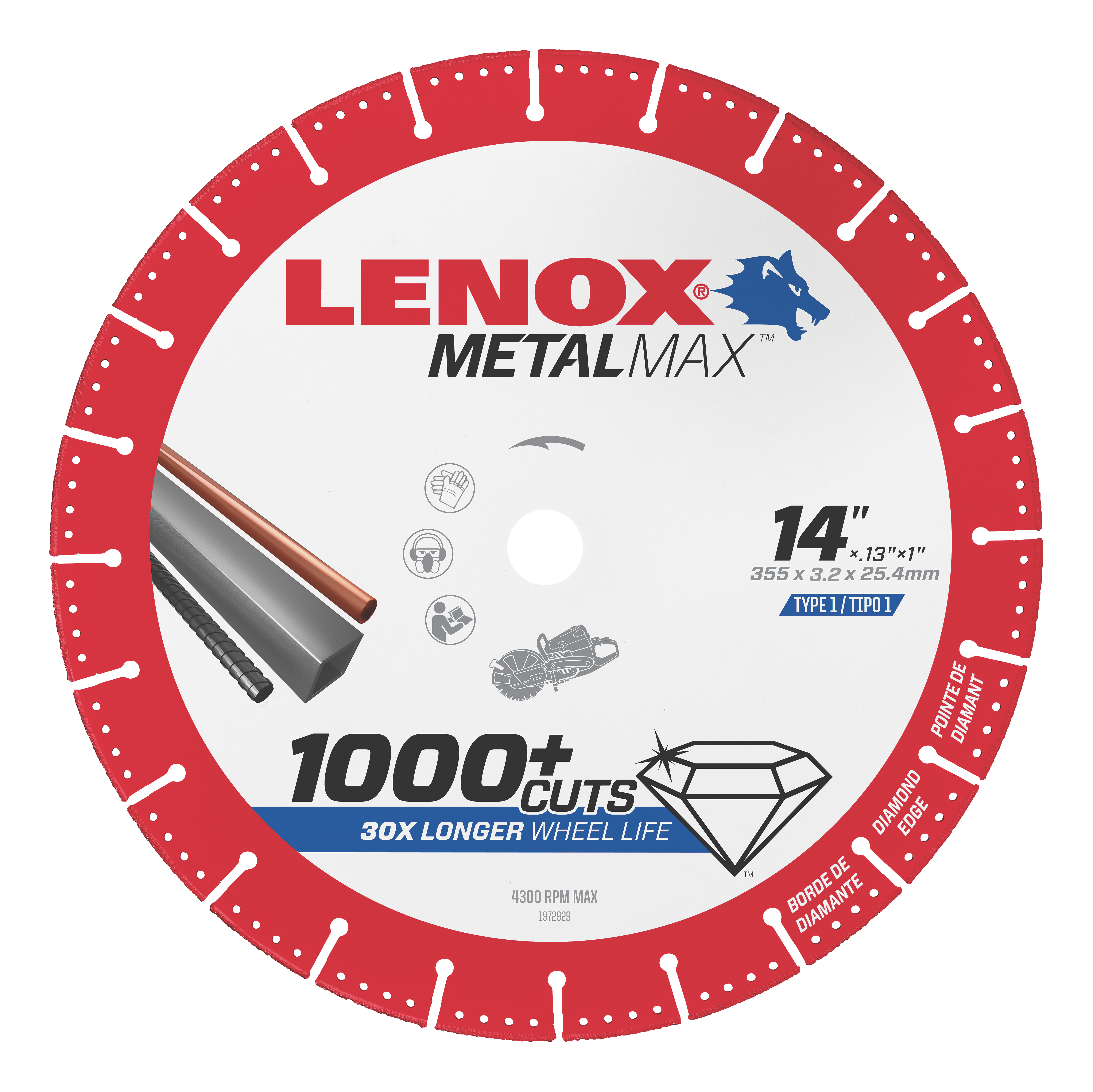 LENOX® TOOLS METALMAX™ 1972932 METALMAX™ Type 1 Cut-Off Wheel, 14 in Dia x 0.15 in THK, 1 in Center Hole, 25/30 Grit, Diamond Abrasive