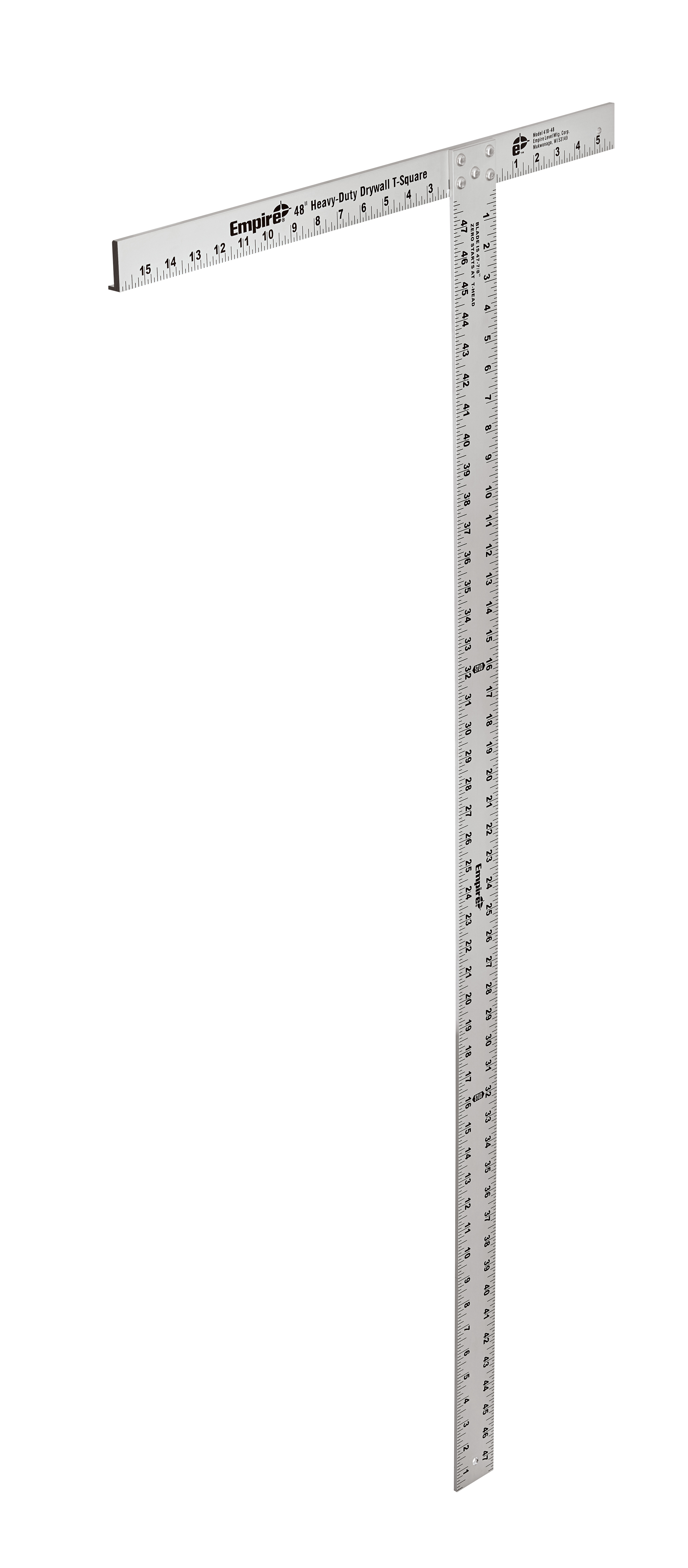 Milwaukee® Empire® 418-48 Drywall Heavy Duty Professional T-Square, 48 in L, 1/8 in Graduation, 48 in Tongue, Aluminum