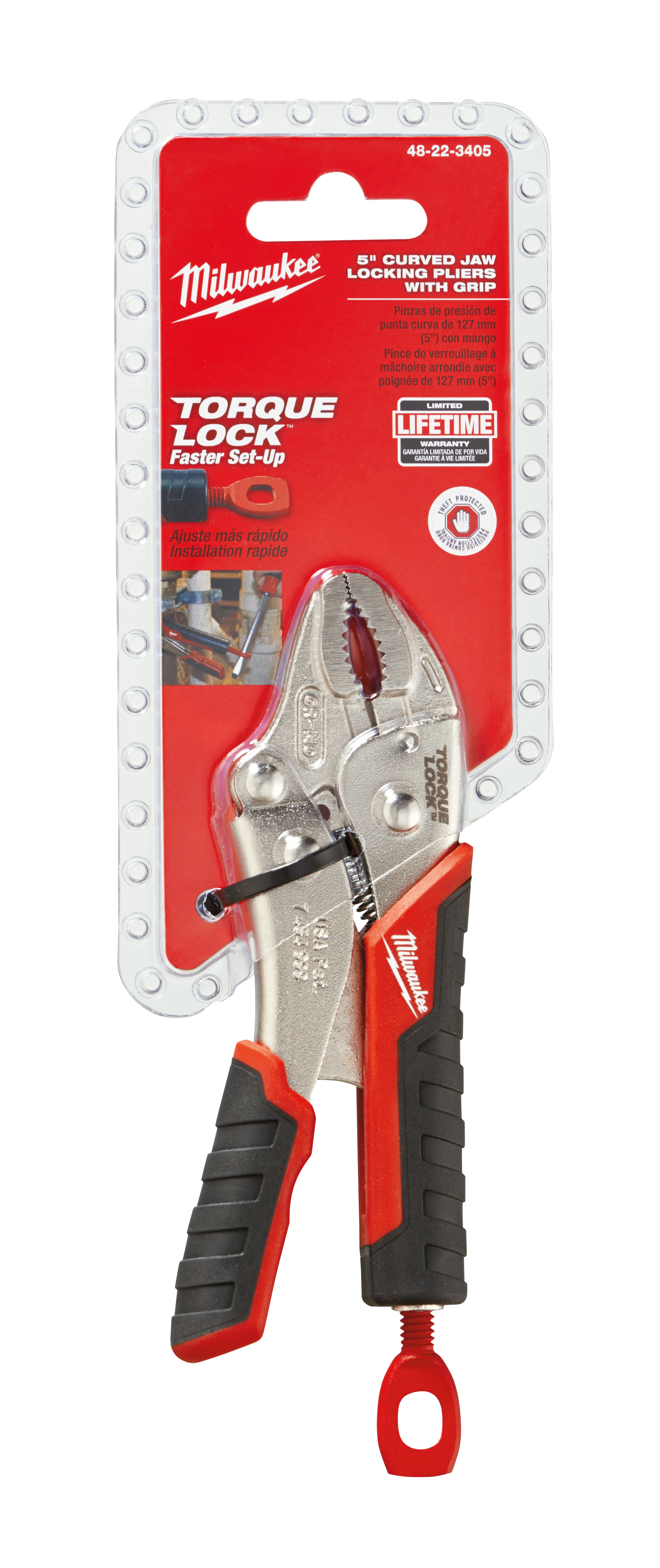 Milwaukee® TORQUE LOCK™ 48-22-3405 1-Handed Lever Locking Plier, 1-1/4 in Nominal, 29/32 in L x 23/64 in W x 23/64 in THK Alloy Steel Curved Jaw, 5 in OAL