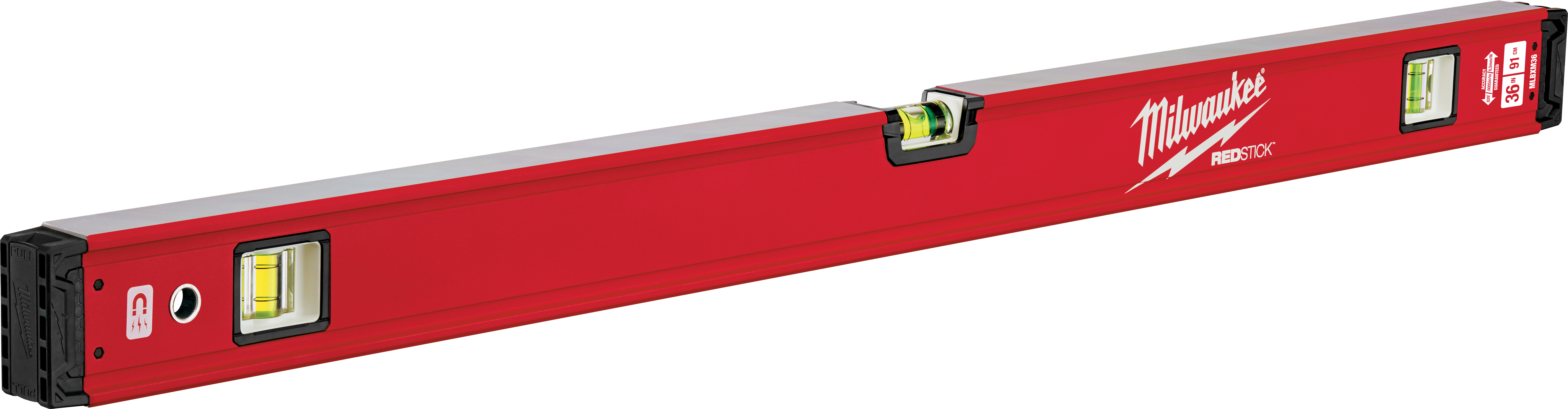Milwaukee® REDSTICK™ MLBXM36 Magnetic Box Level, 36 in L, 3 Vials, Aluminum, (1) Level, (2) Plumb Vial Position, 0.0005 in/in Accuracy