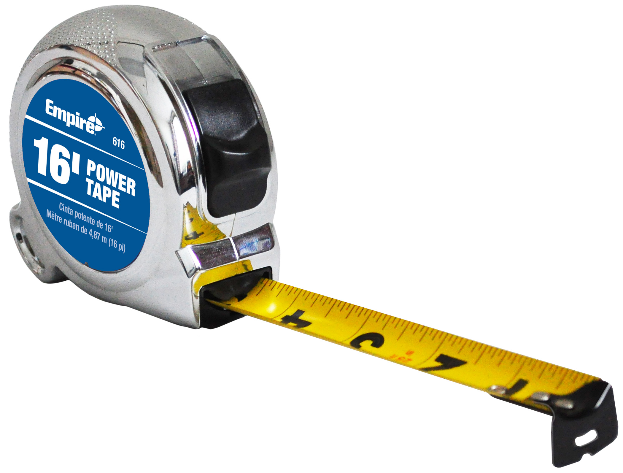 Milwaukee® 616 Ergonomic Power Tape With Belt Clip, 16 ft L x 3/4 in W Blade, Steel Blade, Imperial Measuring System, 1/16 in Graduation