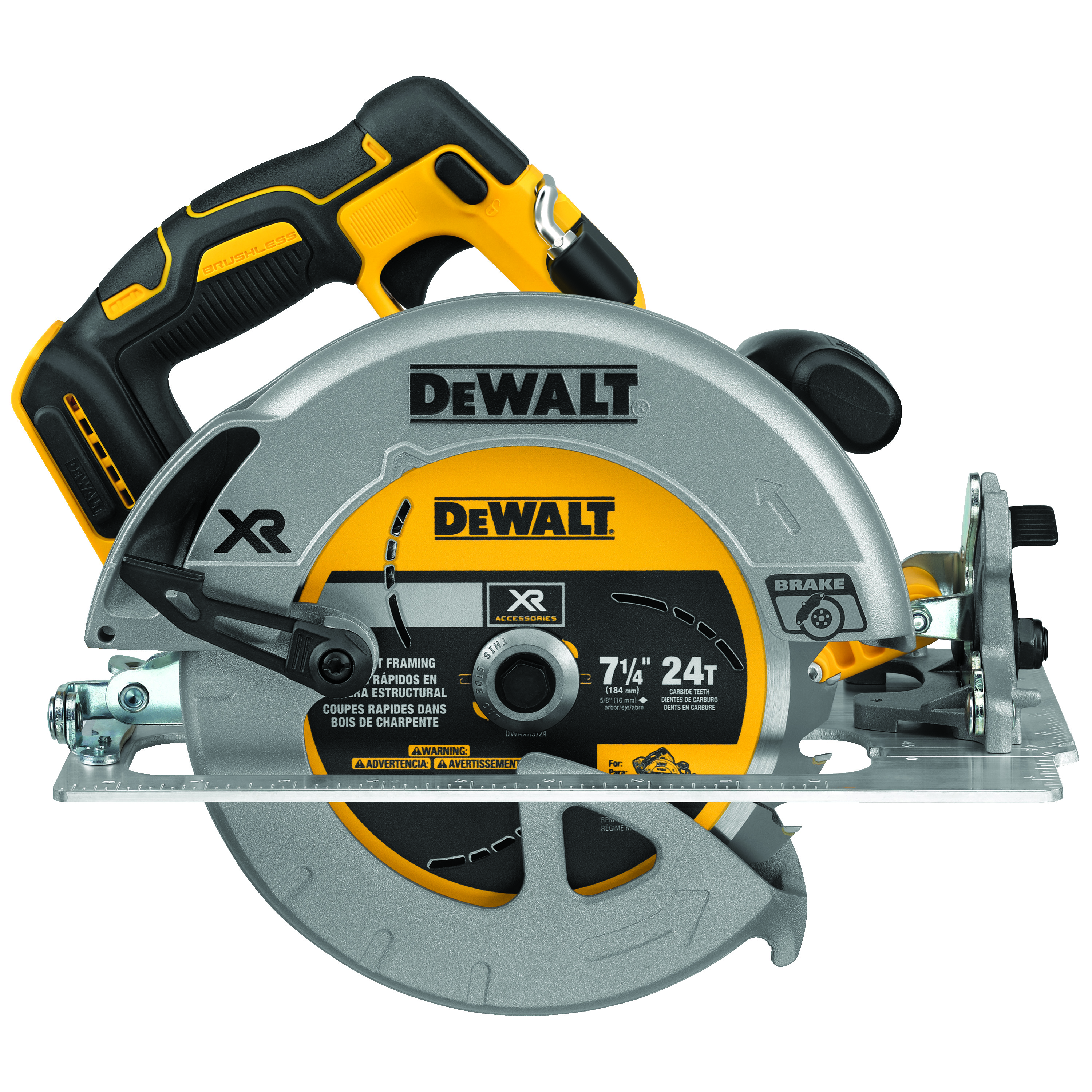 DeWALT® DCS570B Cordless Circular Saw With Electrical Brake, 7-1/4 in Blade, 5/8 in Arbor/Shank, 20 VDC, 2 in, 2-9/16 in D Cutting, Lithium-Ion Battery, Left Blade Side, Bare Tool