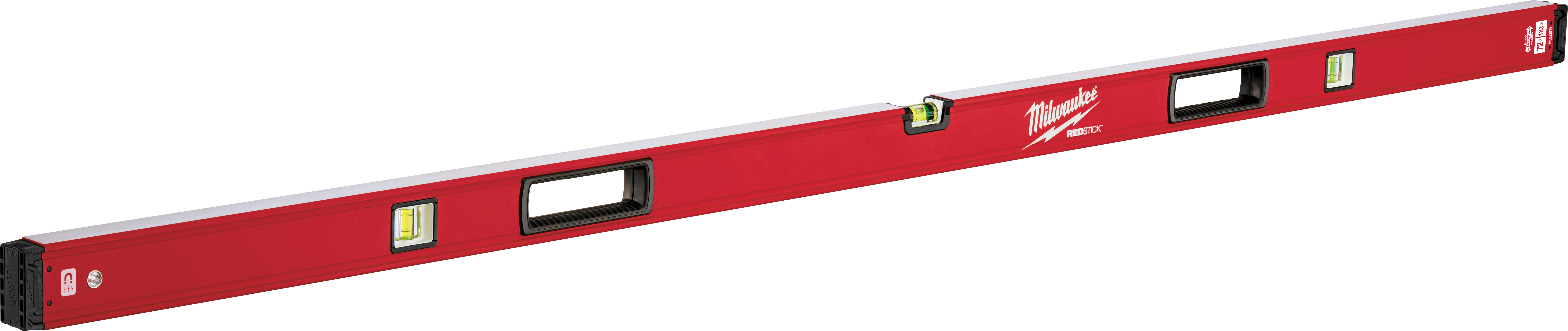 Milwaukee® REDSTICK™ MLBXM72 Magnetic Box Level, 72 in L, 3 Vials, Aluminum, (1) Level, (2) Plumb Vial Position, 0.0005 in/in Accuracy