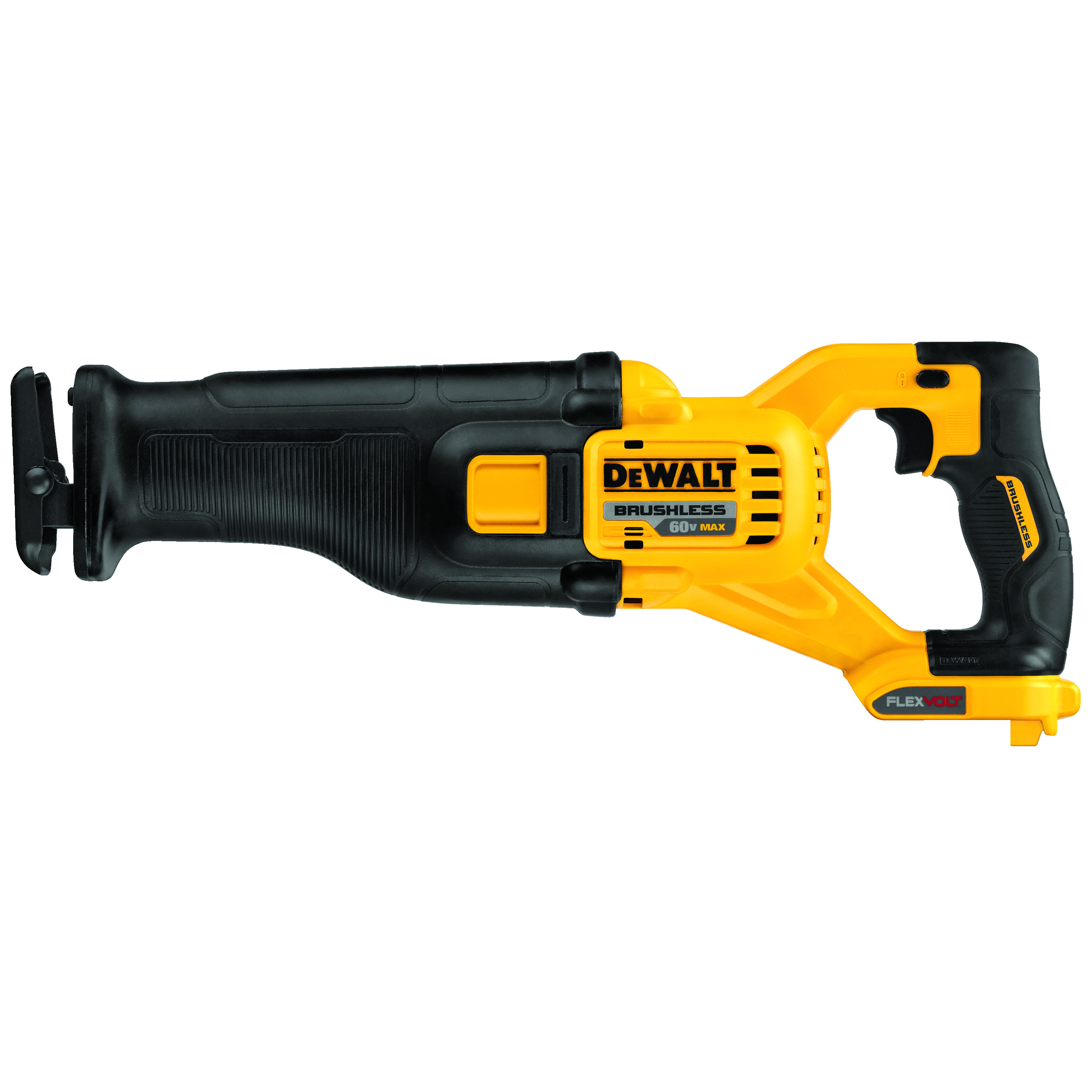 DeWALT® 60V MAX* FLEXVOLT™ DCS388B Max® Brushless Cordless Reciprocating Saw, 1-1/8 in L Stroke, 0 to 3000 spm, Straight Cut, 60 V, 17.725 in OAL