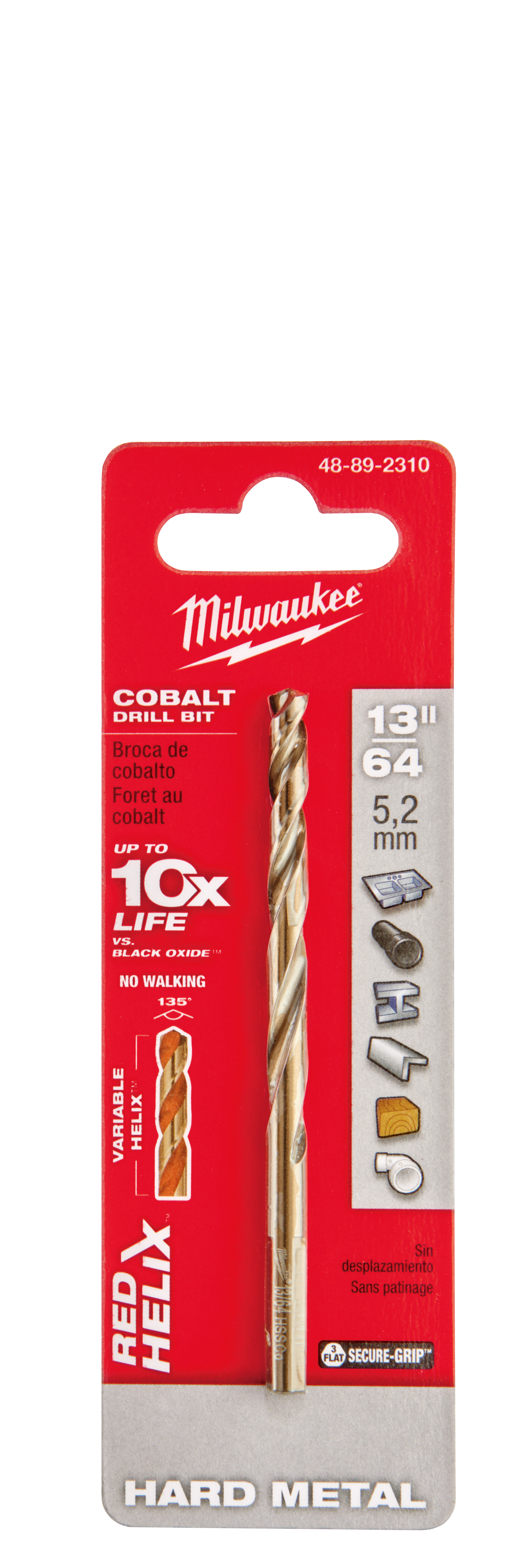 Milwaukee® 48-89-2310 RED HELIX™ Jobber Length Twist Drill Bit, 13/64 in Drill - Fraction, 0.2031 in Drill - Decimal Inch, 135 deg Point, High Speed Cobalt, Uncoated