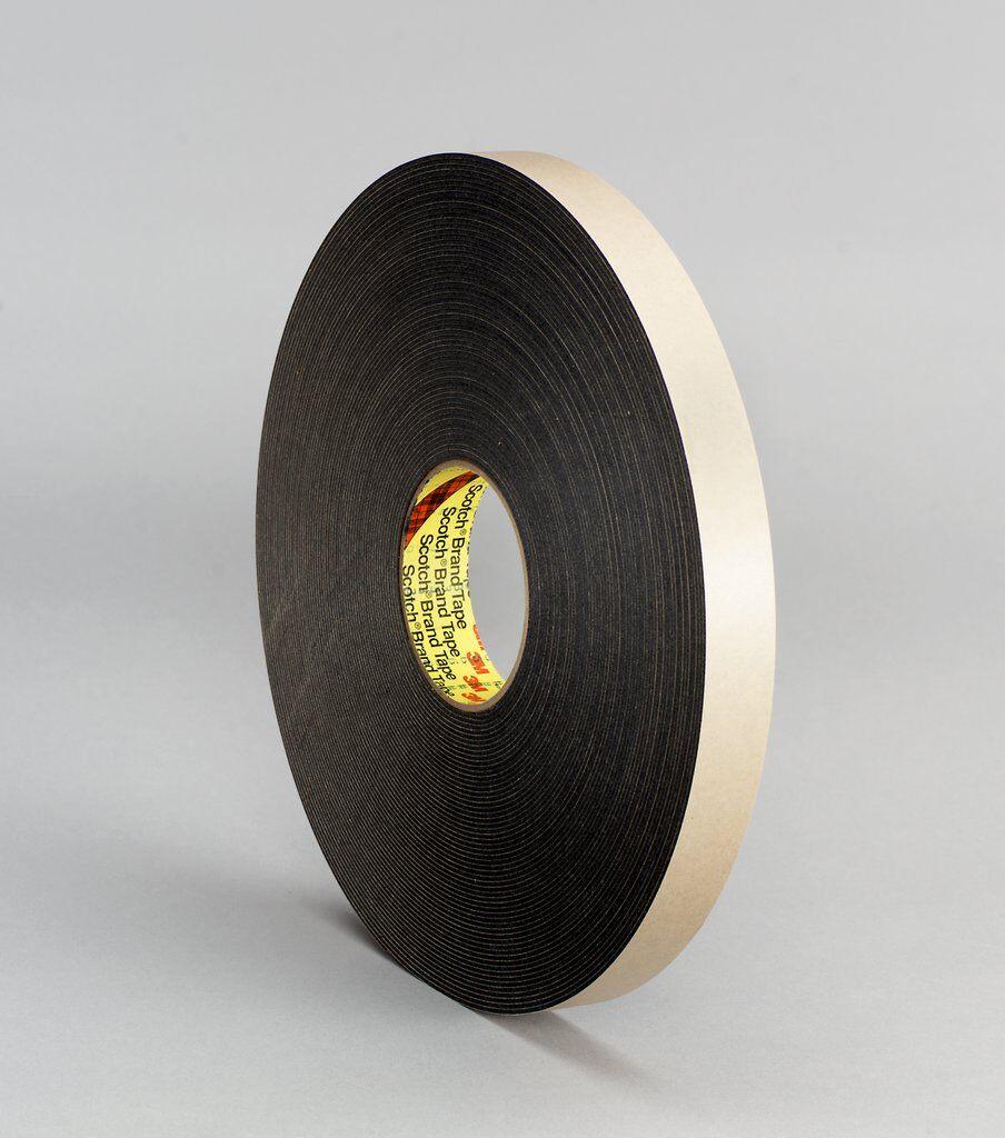 """3M™ 4496B-3/4""""x36yd Double Coated Tape, 36 yd L x 3/4 in W, 62 mil THK, Acrylic Adhesive, Polyethylene Foam Backing, Black"""