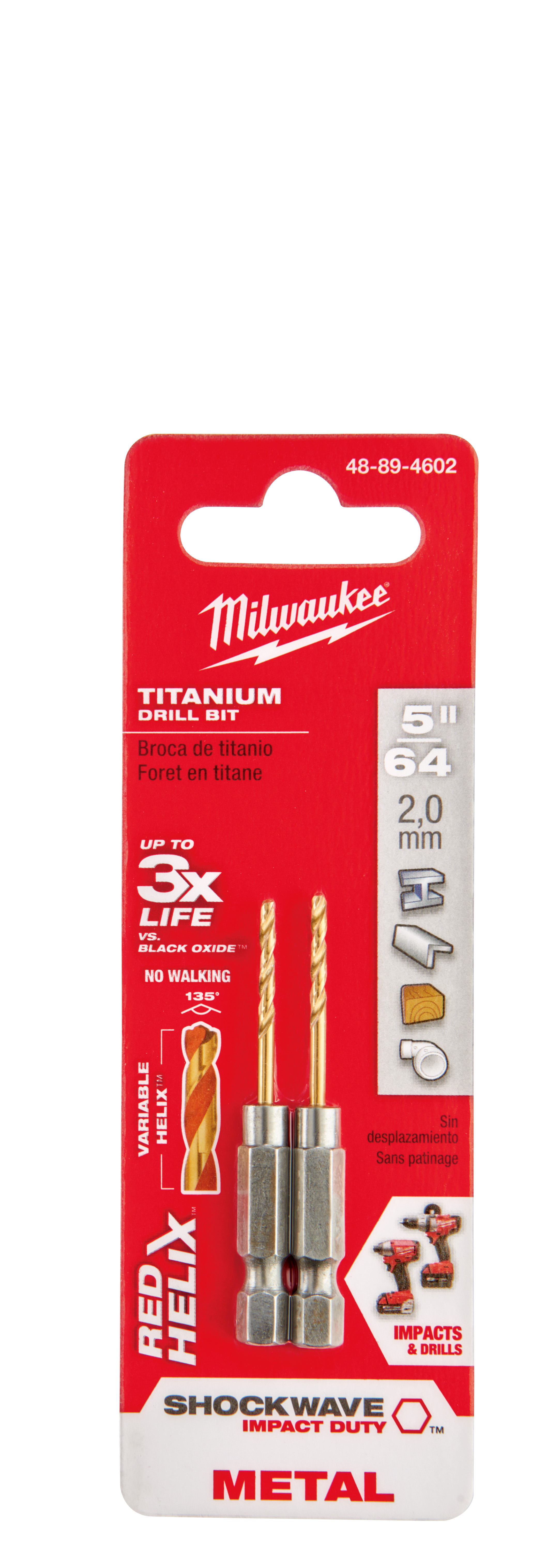 Milwaukee® 48-89-4602 SHOCKWAVE™ Hex Shank Impact Drill Bit, 5/64 in Drill - Fraction, 0.0781 in Drill - Decimal Inch, 21/32 in D Cutting