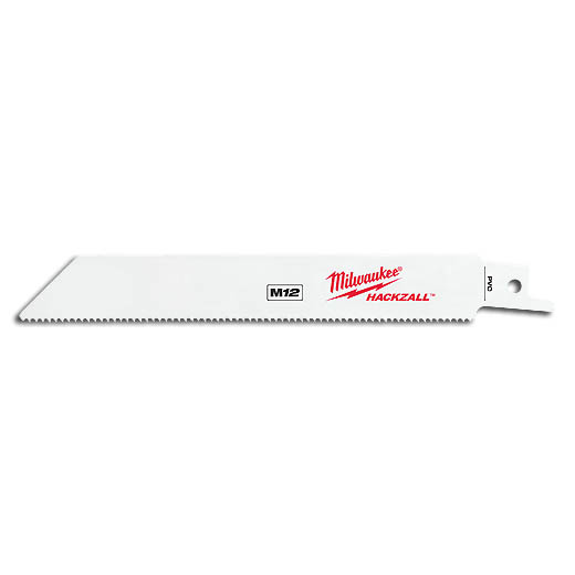 Milwaukee® 49-00-5614 Straight Back Thin Kerf Reciprocating Saw Blade, 6 in L x 3/4 in W, 14, Bi-Metal Body, Toothed Edge/Universal Tang