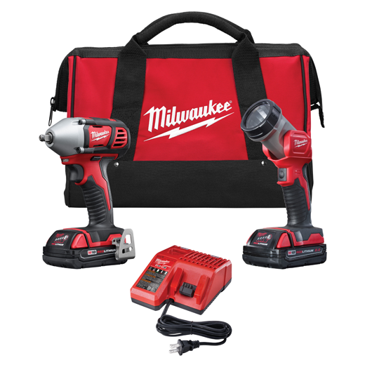Milwaukee® M18™ 2693-22 2-Tool Cordless Combination Kit, Tools: Impact Wrench, 18 VDC, 1.5 Ah Lithium-Ion, Keyless Blade
