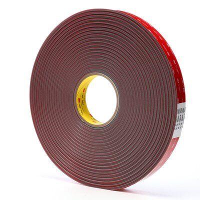 3M™ VHB™ 4956F Pressure Sensitive Double Sided Bonding Tape, 36 yd L x 1 in W, 0.062 in THK, Multi-Purpose Acrylic Adhesive, Acrylic Foam Backing, Gray