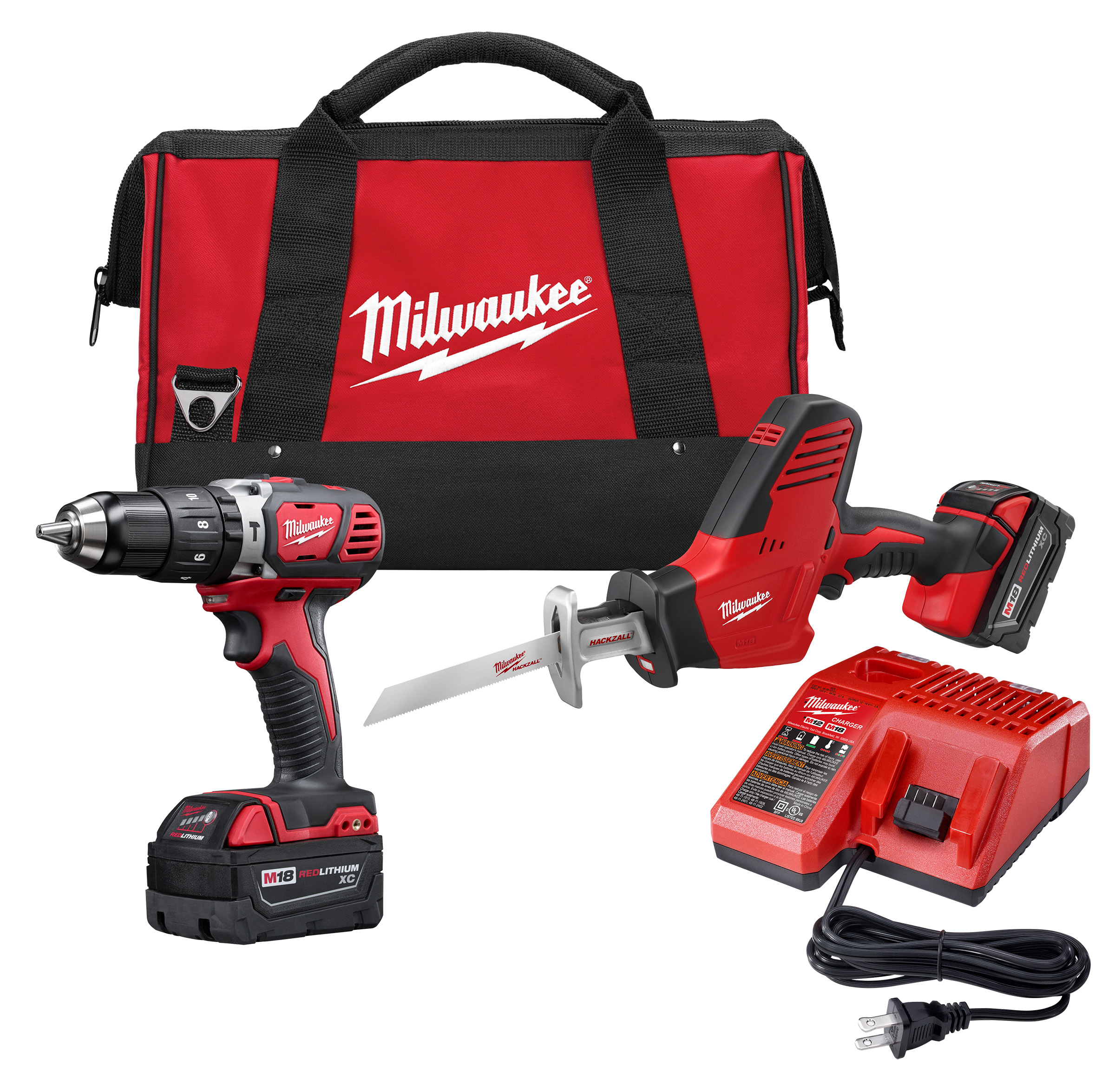 Milwaukee® M18™ 2695-22 2-Tool Cordless Combination Kit, Tools: Hammer Drill, Reciprocating Saw, 18 VDC, 3 Ah Lithium-Ion REDLITHIUM™ Battery, Keyless Blade