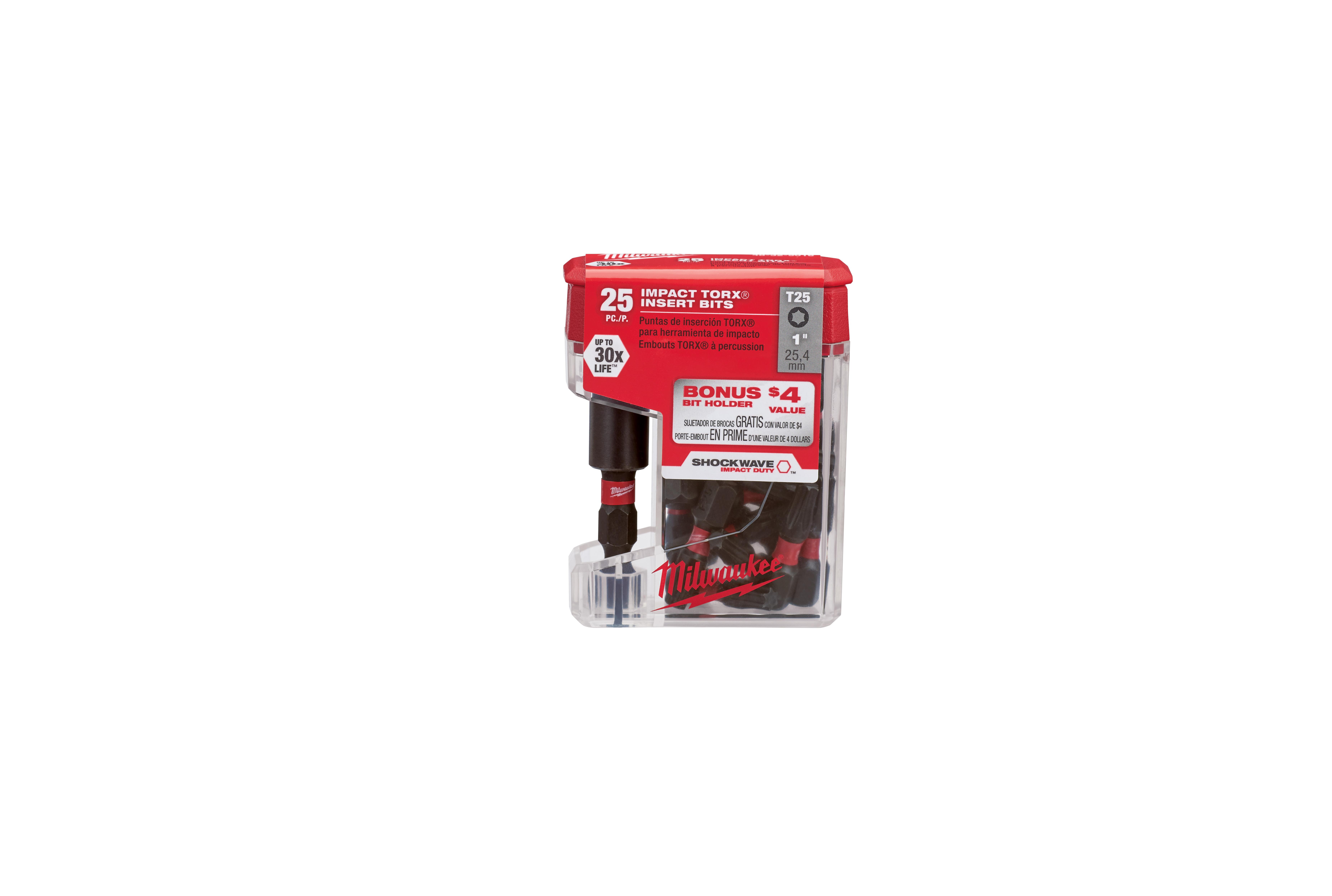 Milwaukee® SHOCKWAVE™ 48-32-5016 Impact Insert Bit, T25 Torx® Point, 1 in OAL, 1/4 in, Steel