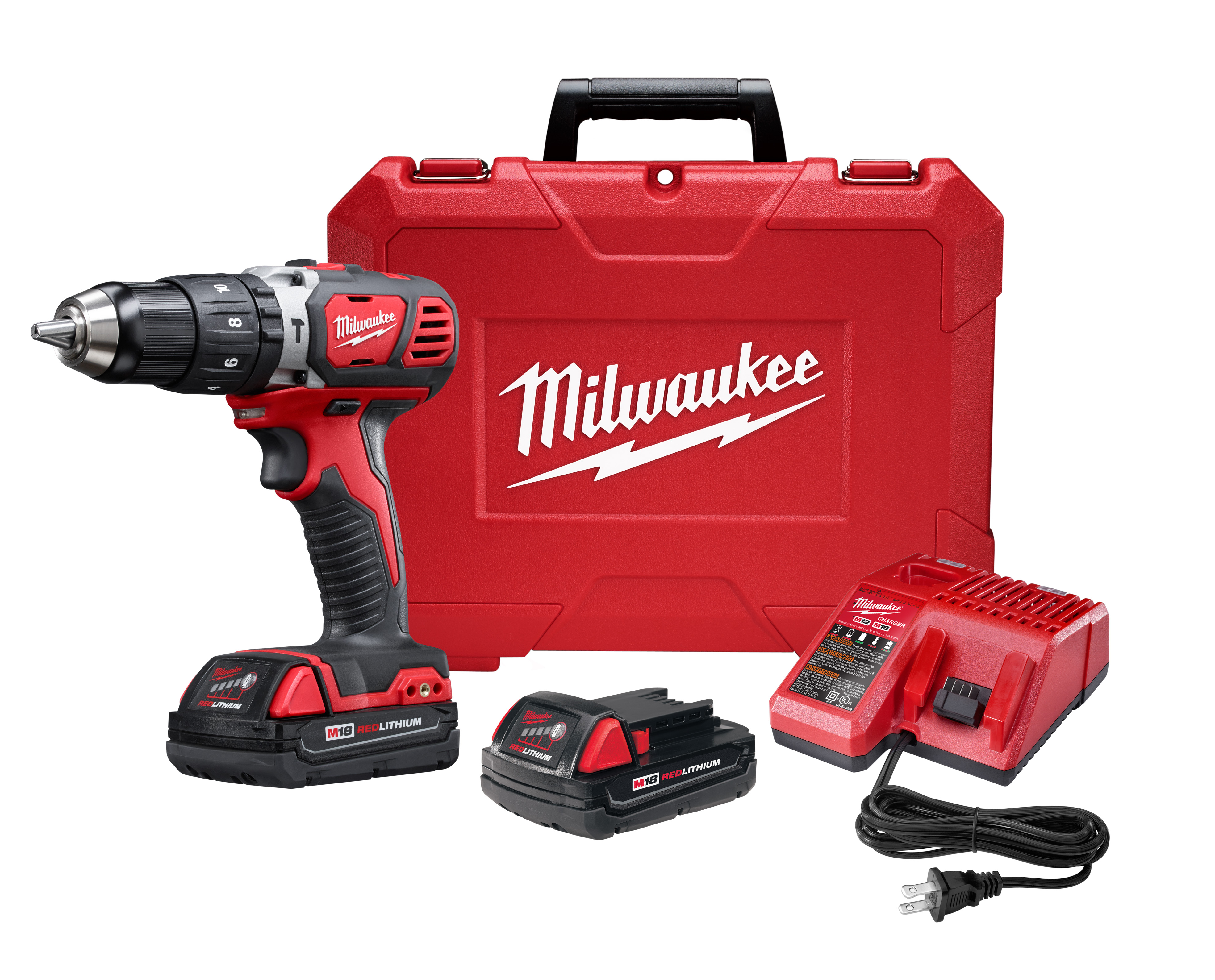 Milwaukee® M18™ 2607-22CT Cordless Hammer Drill/Driver Kit, 1/2 in Metal Single Sleeve Ratcheting Lock Chuck, 18 VDC, 400/1800 rpm No-Load, Lithium-Ion Battery