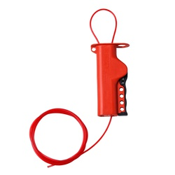 Brady® 50941 All Purpose Cable Lockout, 1/8 in Dia x 8 ft L Nylon Cable, 4 Padlocks, Red, 9/32 in Padlock Shackle Maximum Diameter, Glass Filled Nylon Body
